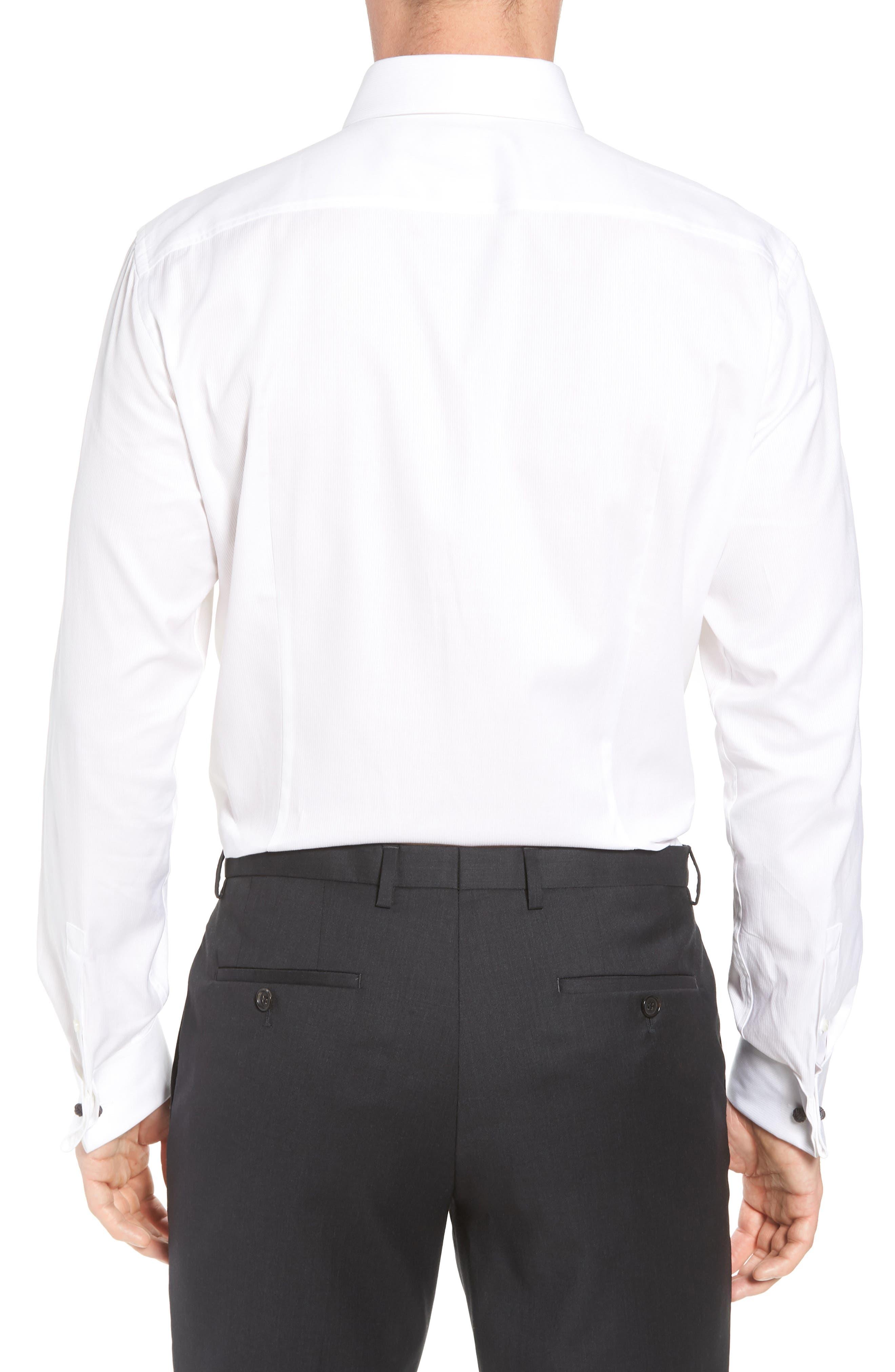 Myron Sharp Fit Tuxedo Shirt,                             Alternate thumbnail 3, color,                             White