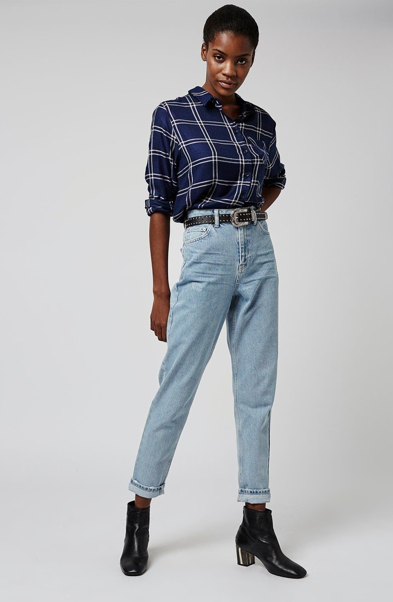 Mom Jeans,                             Alternate thumbnail 2, color,                             Light Denim