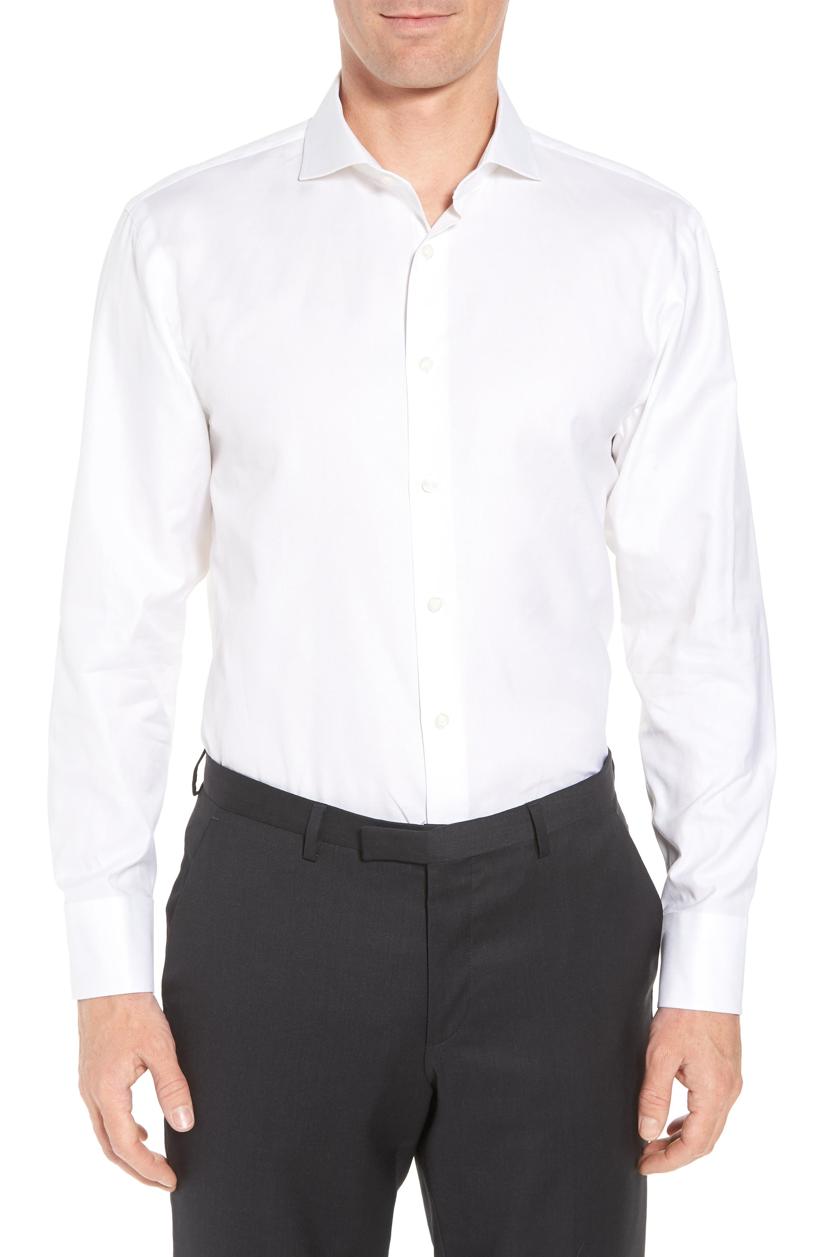Traditional Fit Solid Dress Shirt,                             Main thumbnail 1, color,                             White