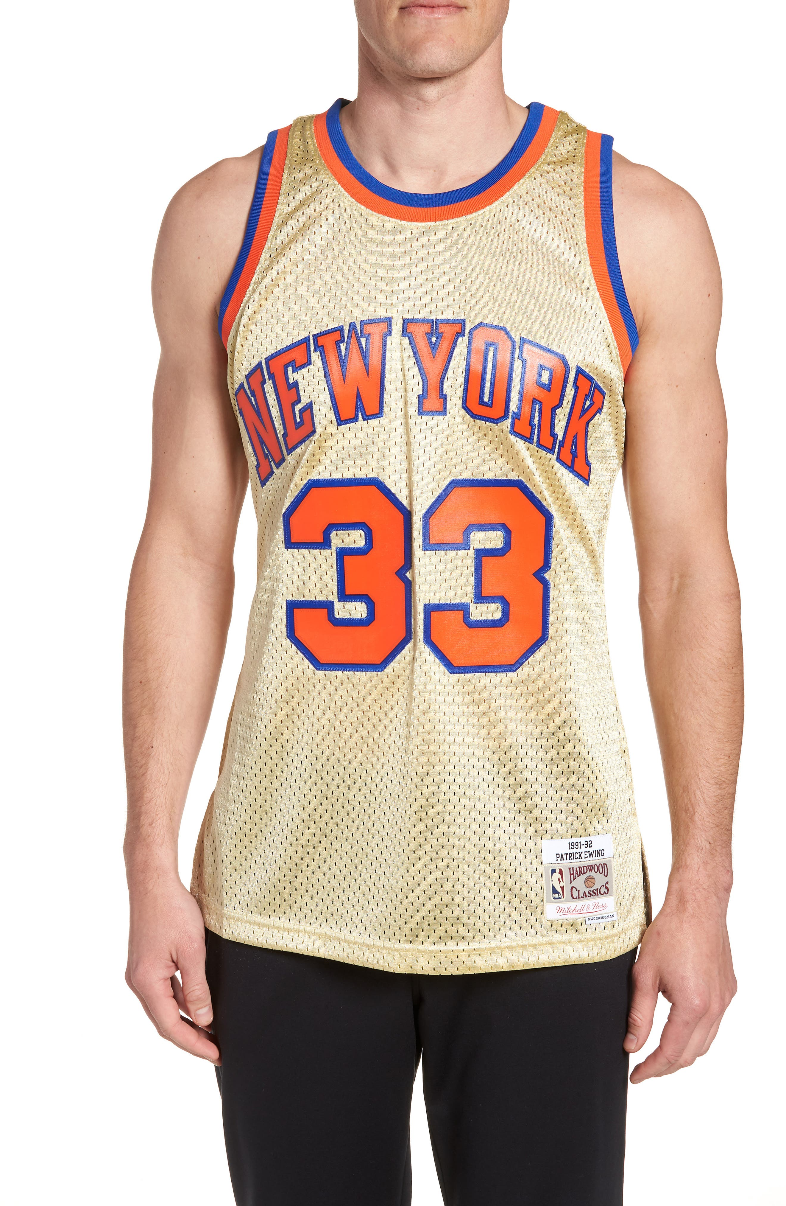 NBA Gold Ewing Jersey,                             Main thumbnail 1, color,                             Gold