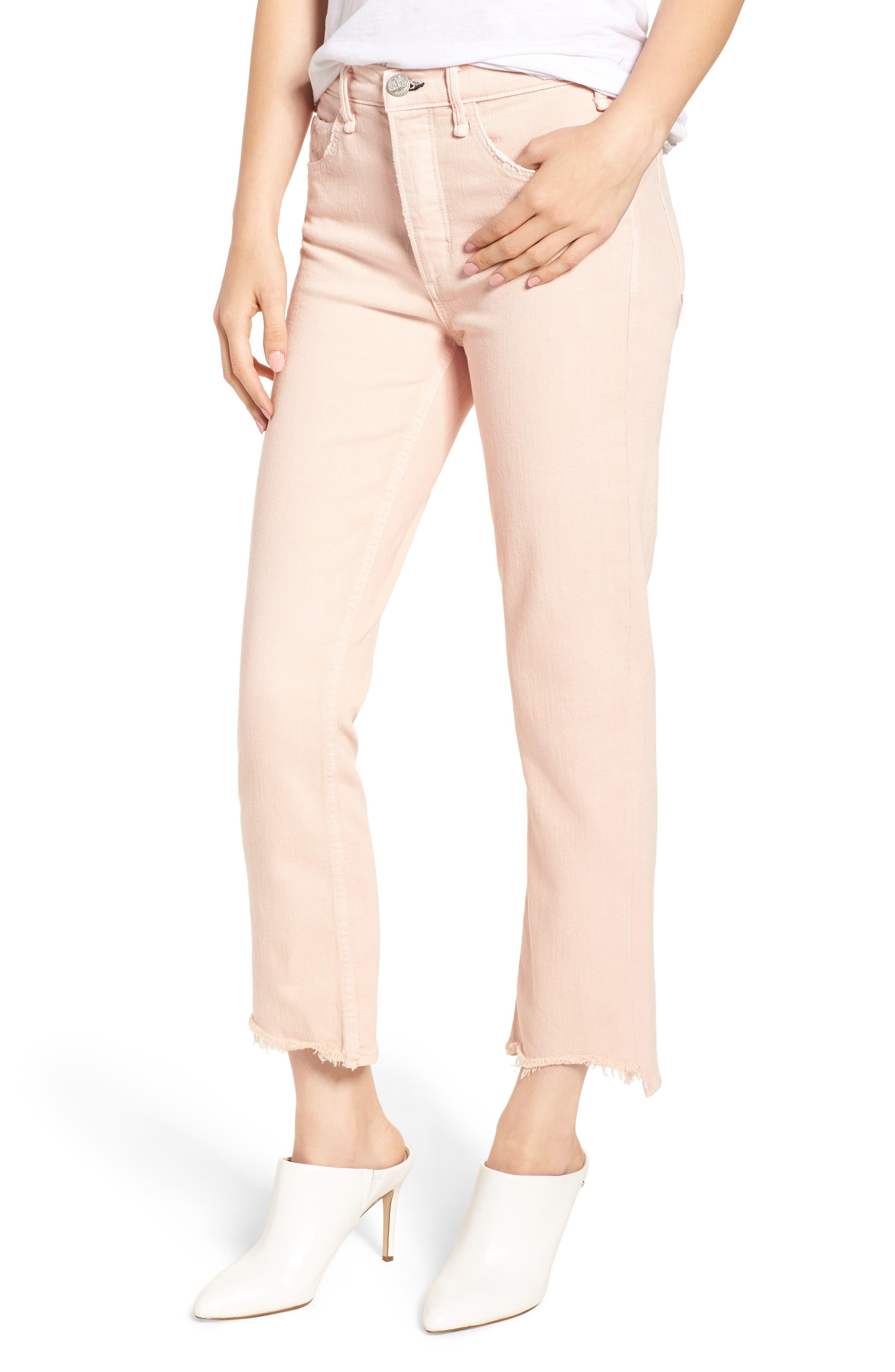 Valletta High Waist Crop Straight Leg Jeans,                             Main thumbnail 1, color,                             Punch Pink
