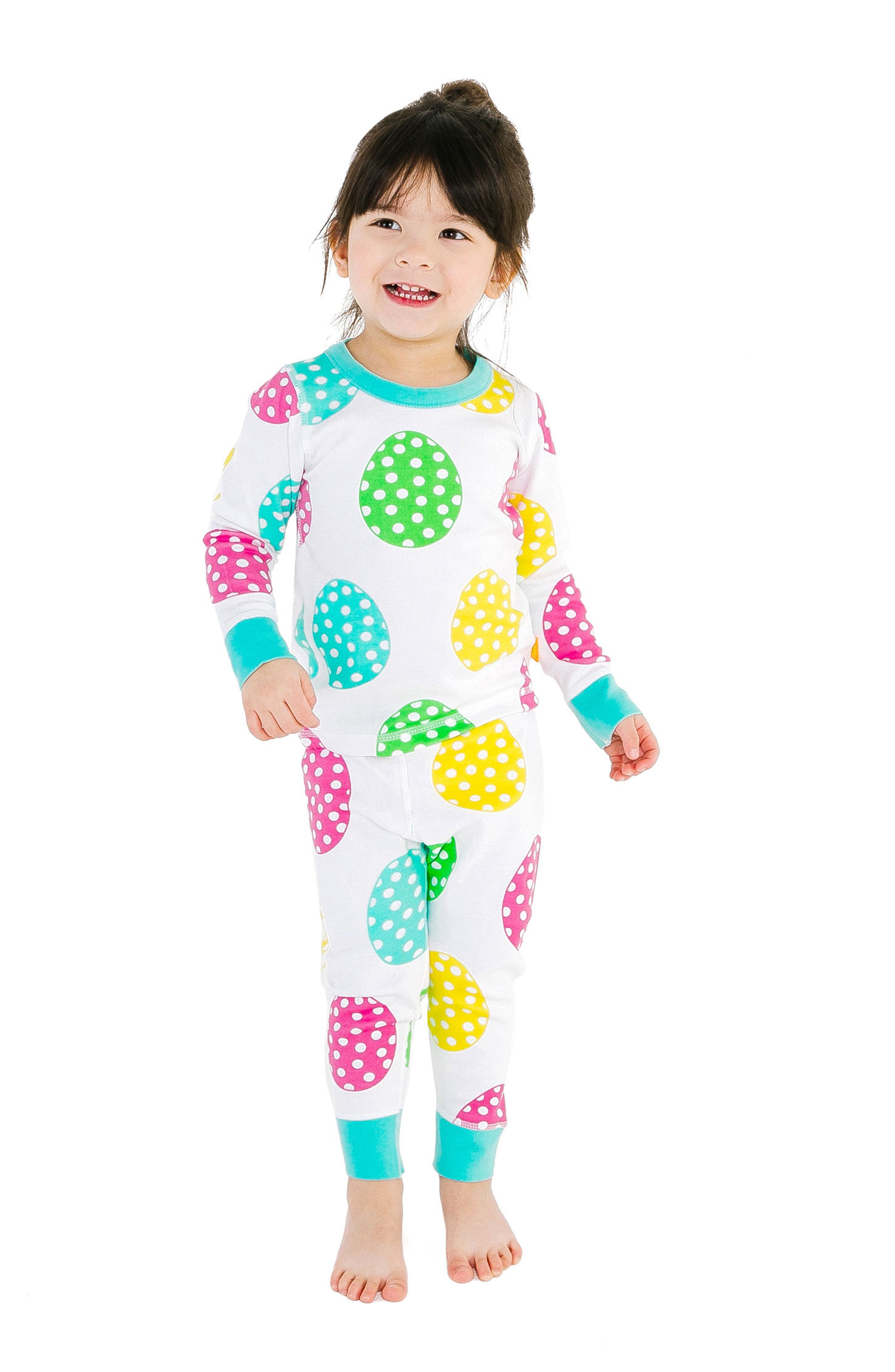 Rainbow Fitted Two-Piece Organic Cotton Pajamas,                             Alternate thumbnail 2, color,                             White Multi