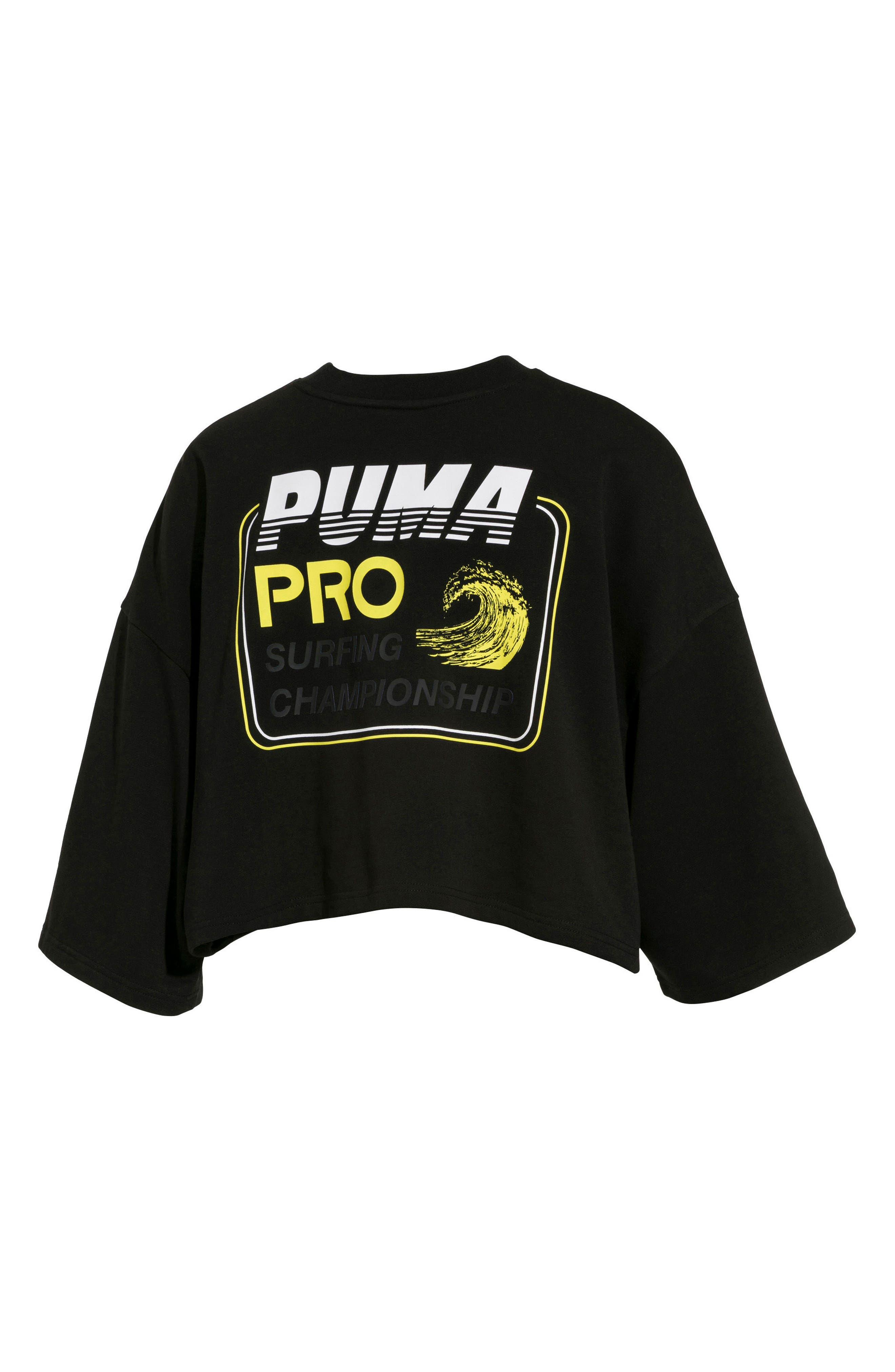 PUMA by Rihanna Graphic Short Sleeve Crop Sweatshirt,                             Alternate thumbnail 2, color,                             Puma Black
