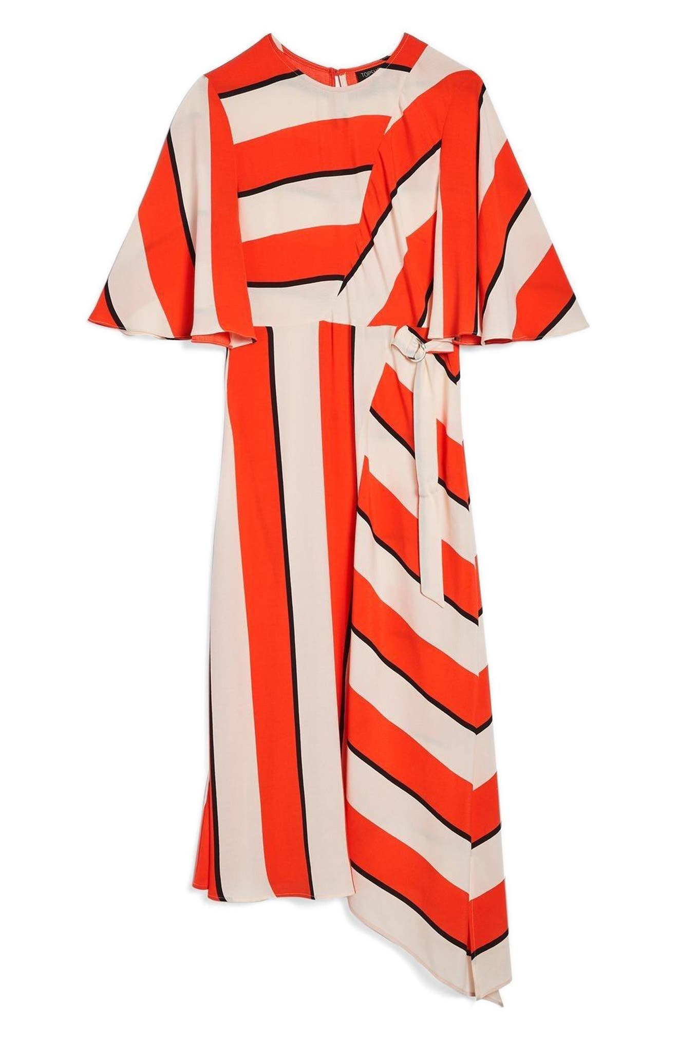 Diagonal Stripe Midi Dress,                         Main,                         color, Red Multi