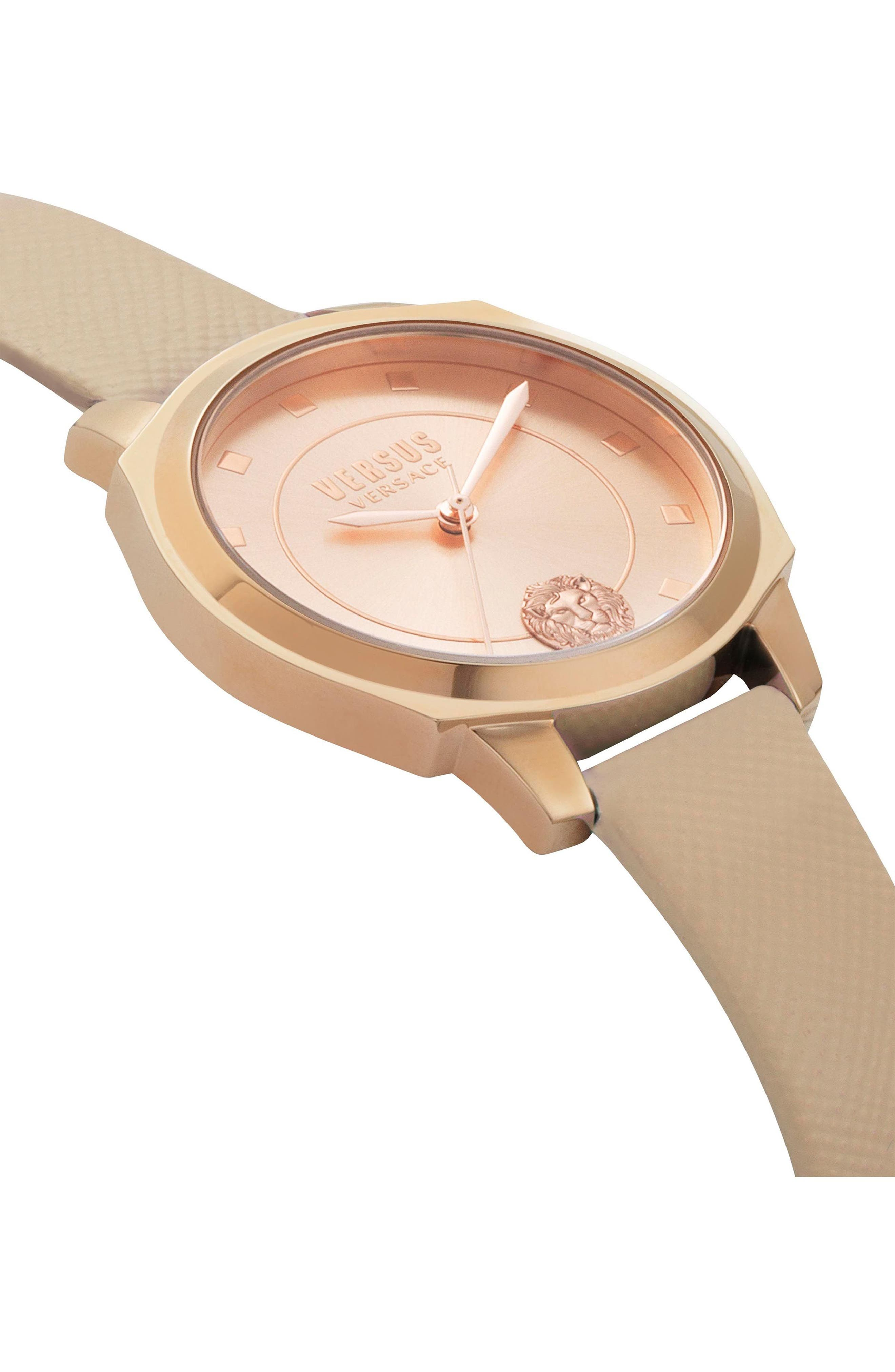 VERSUS by Versace Chelsea Leather Strap Watch, 34mm,                             Alternate thumbnail 3, color,                             Tan/ Rose Gold