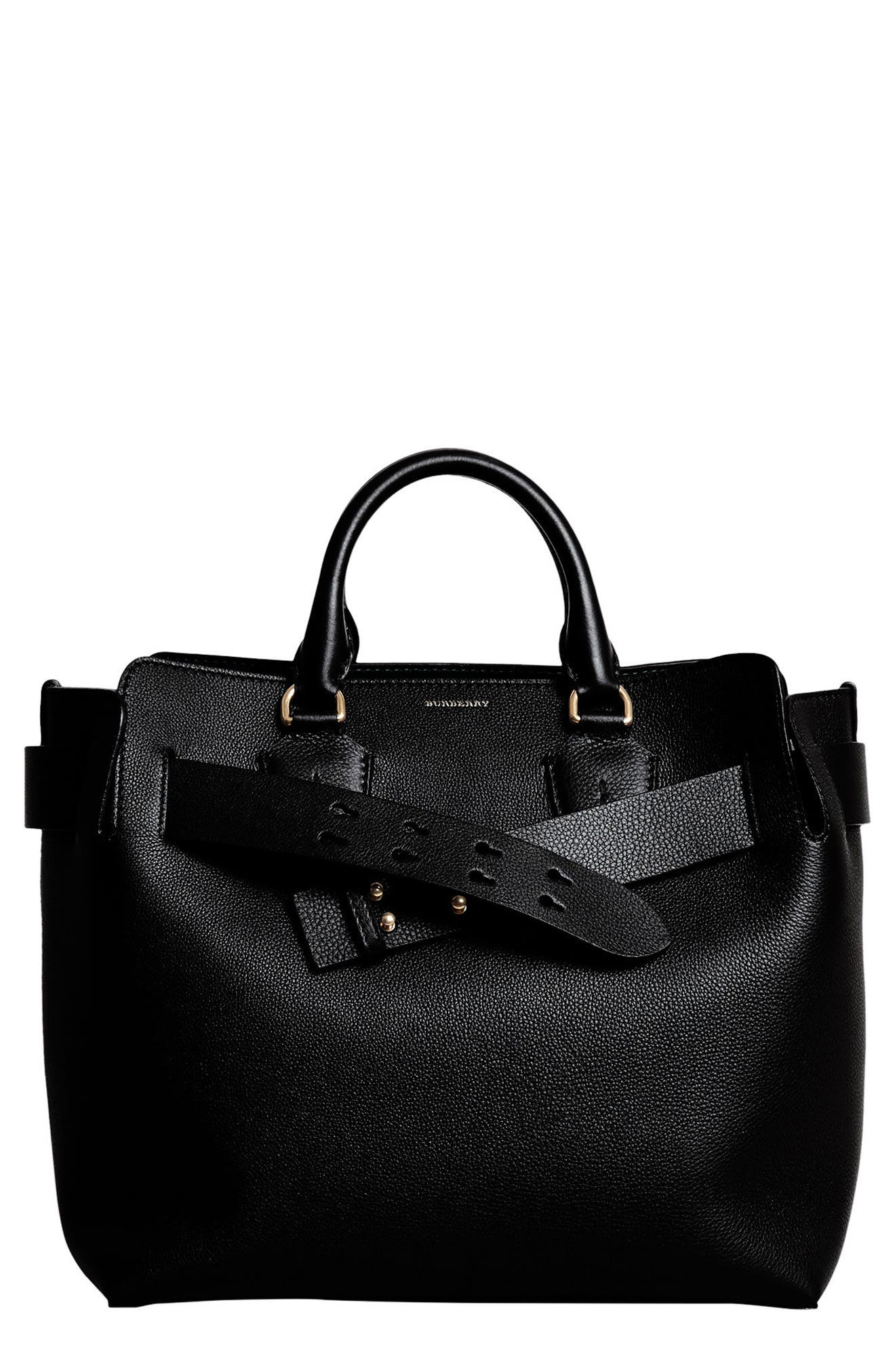 Medium Belt Bag Leather Tote,                             Main thumbnail 1, color,                             Black