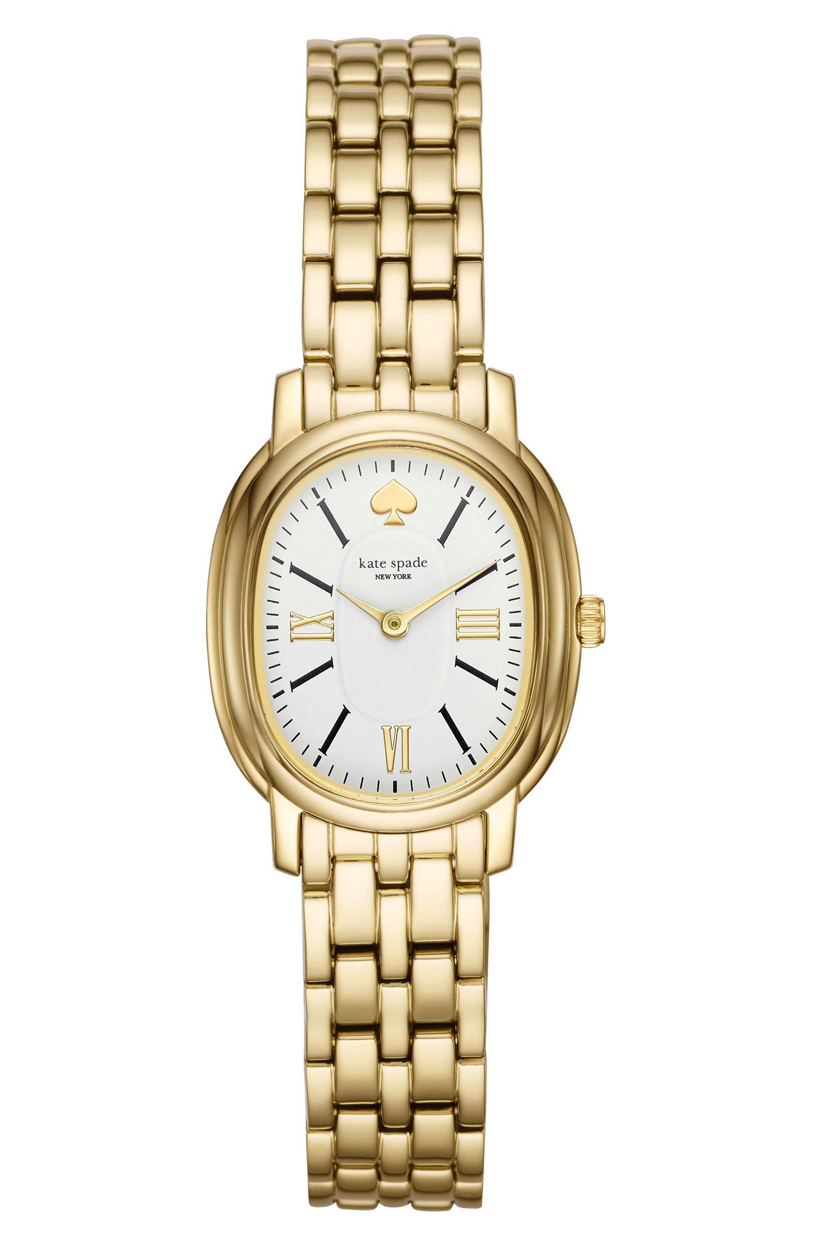 staten bracelet watch, 25mm,                             Main thumbnail 1, color,                             Gold/ White/ Gold