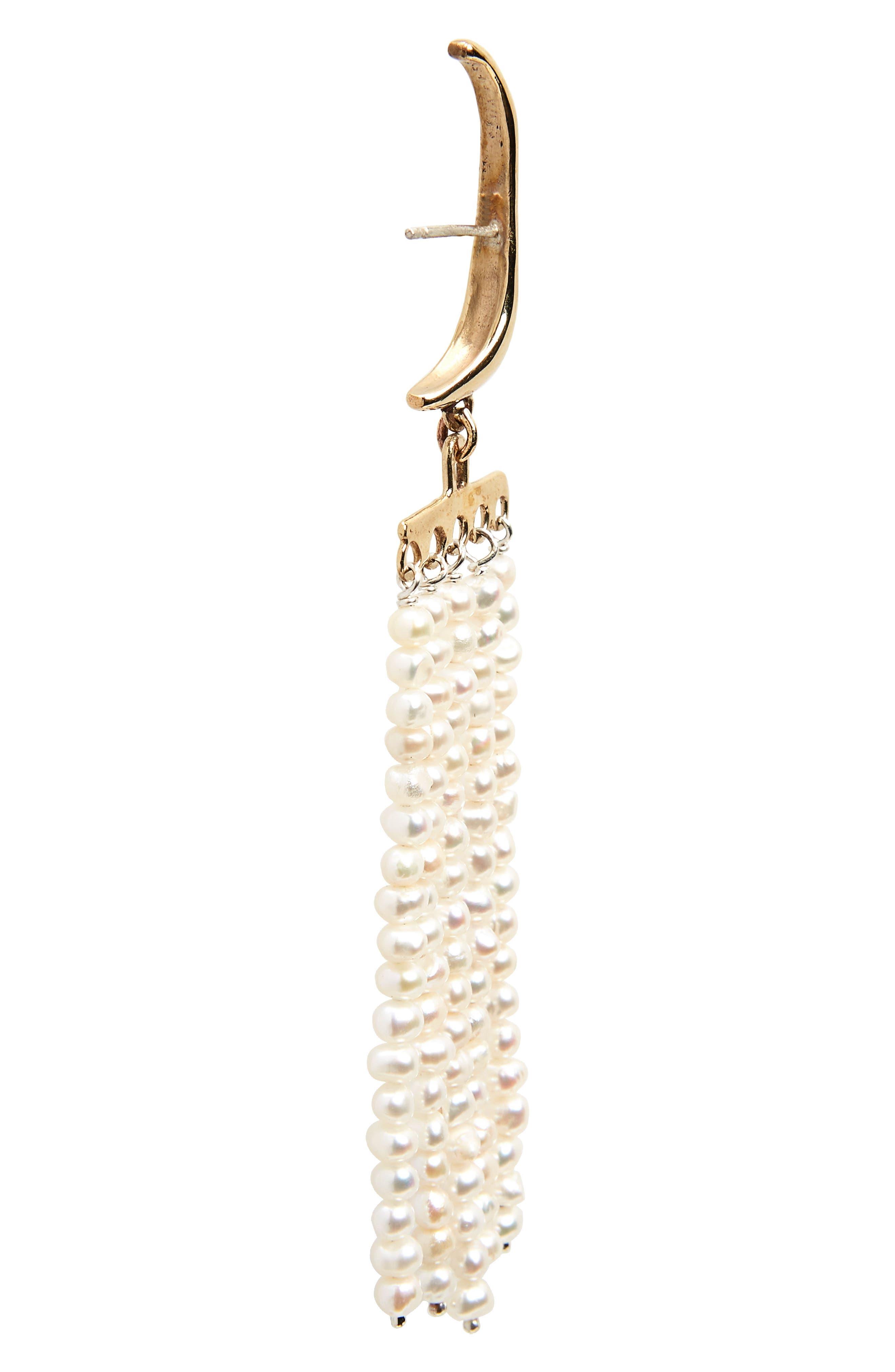 Swing Pearl Earrings,                             Alternate thumbnail 3, color,                             Bronze