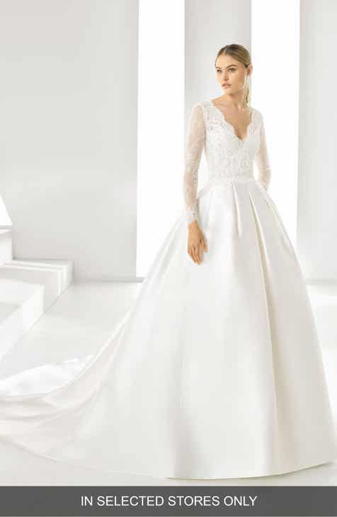 Rosa Clará Drue V Neck Pleated Ballgown