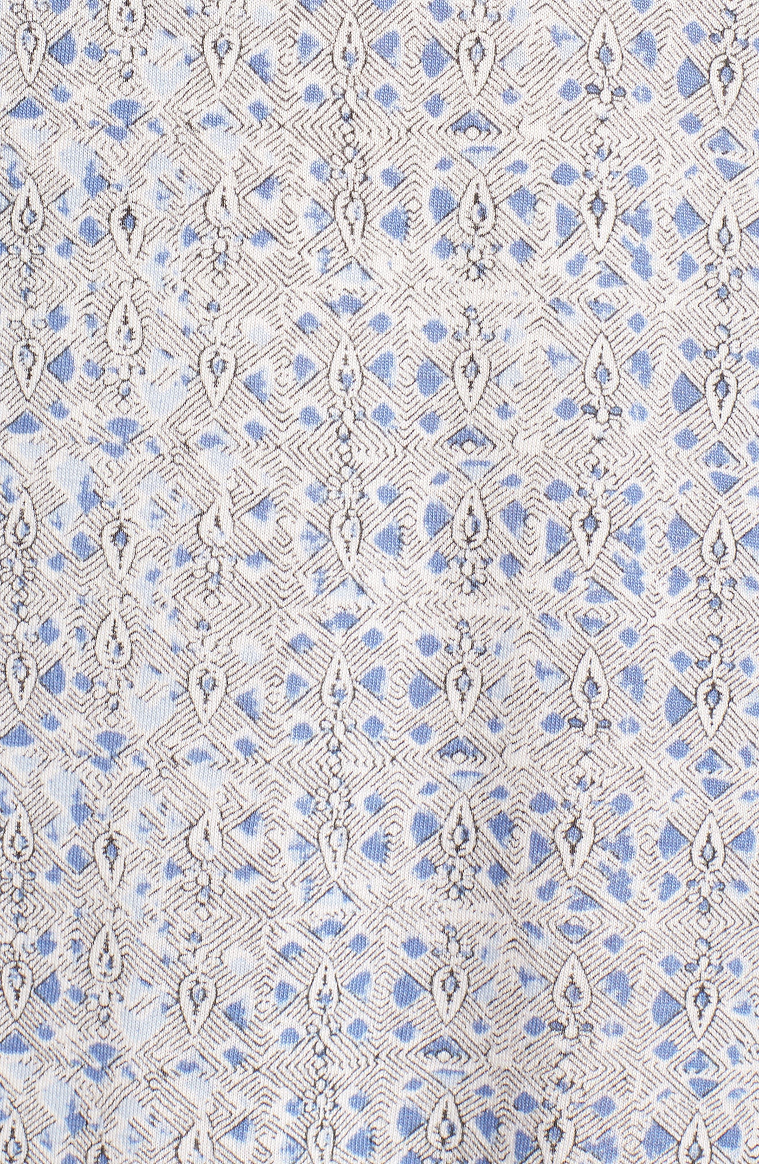 Ruffle Sleeve Print Shift Dress,                             Alternate thumbnail 5, color,                             Blue Multi