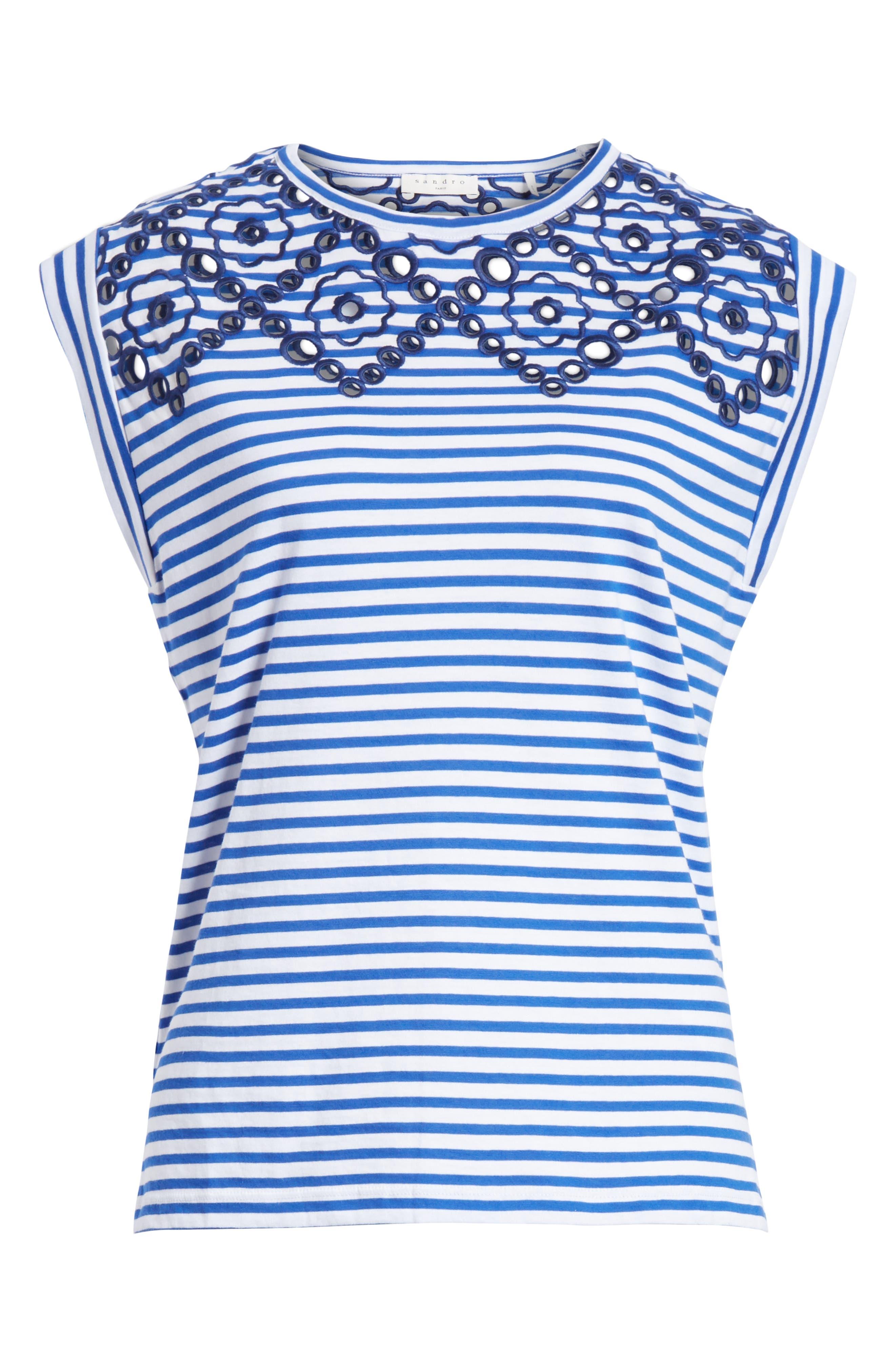 Stripe Embroidered Stencil Cotton Top,                             Alternate thumbnail 6, color,                             Bleu Nuit