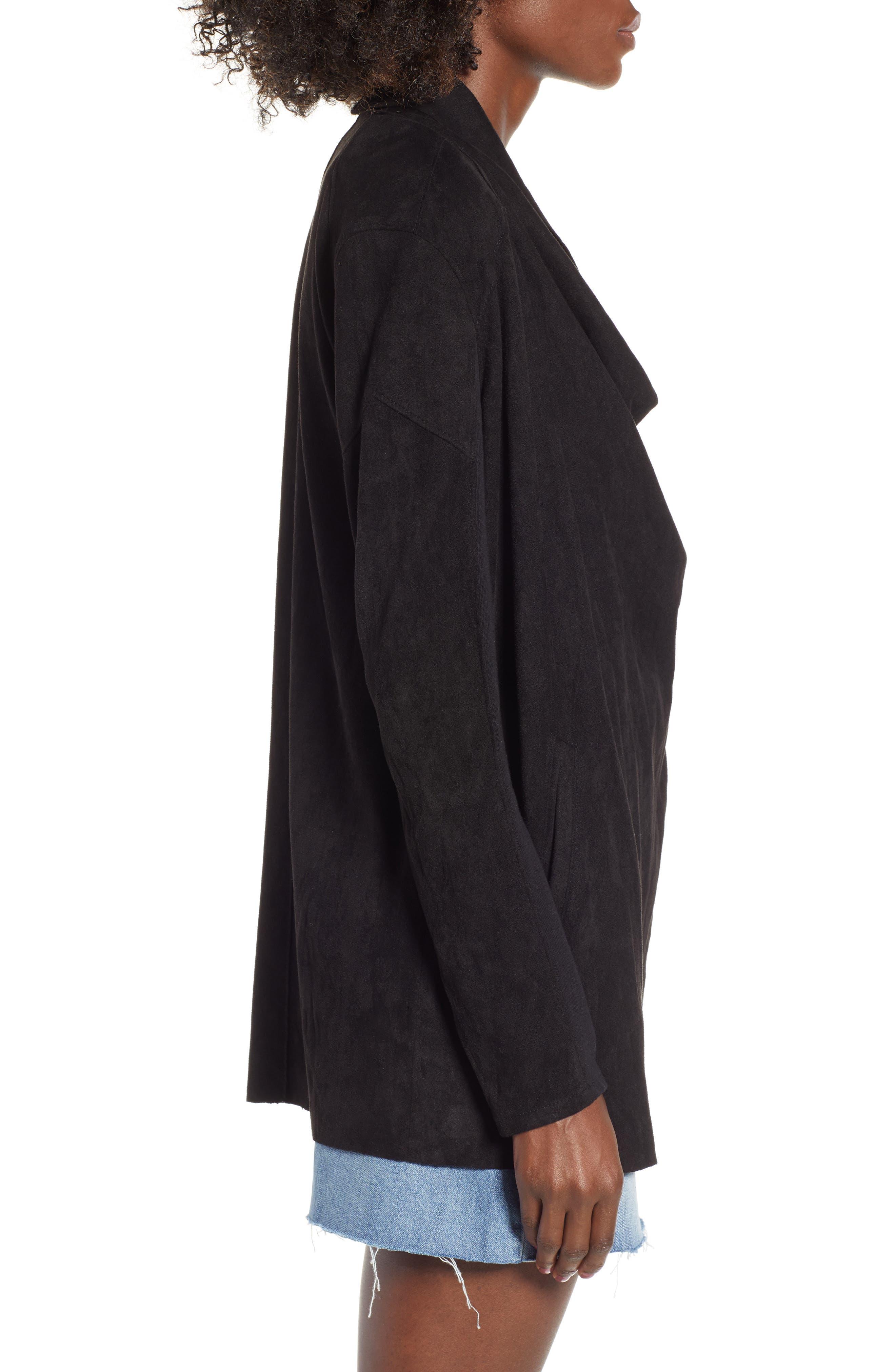 Cloud Nine Drape Jacket,                             Alternate thumbnail 3, color,                             Black