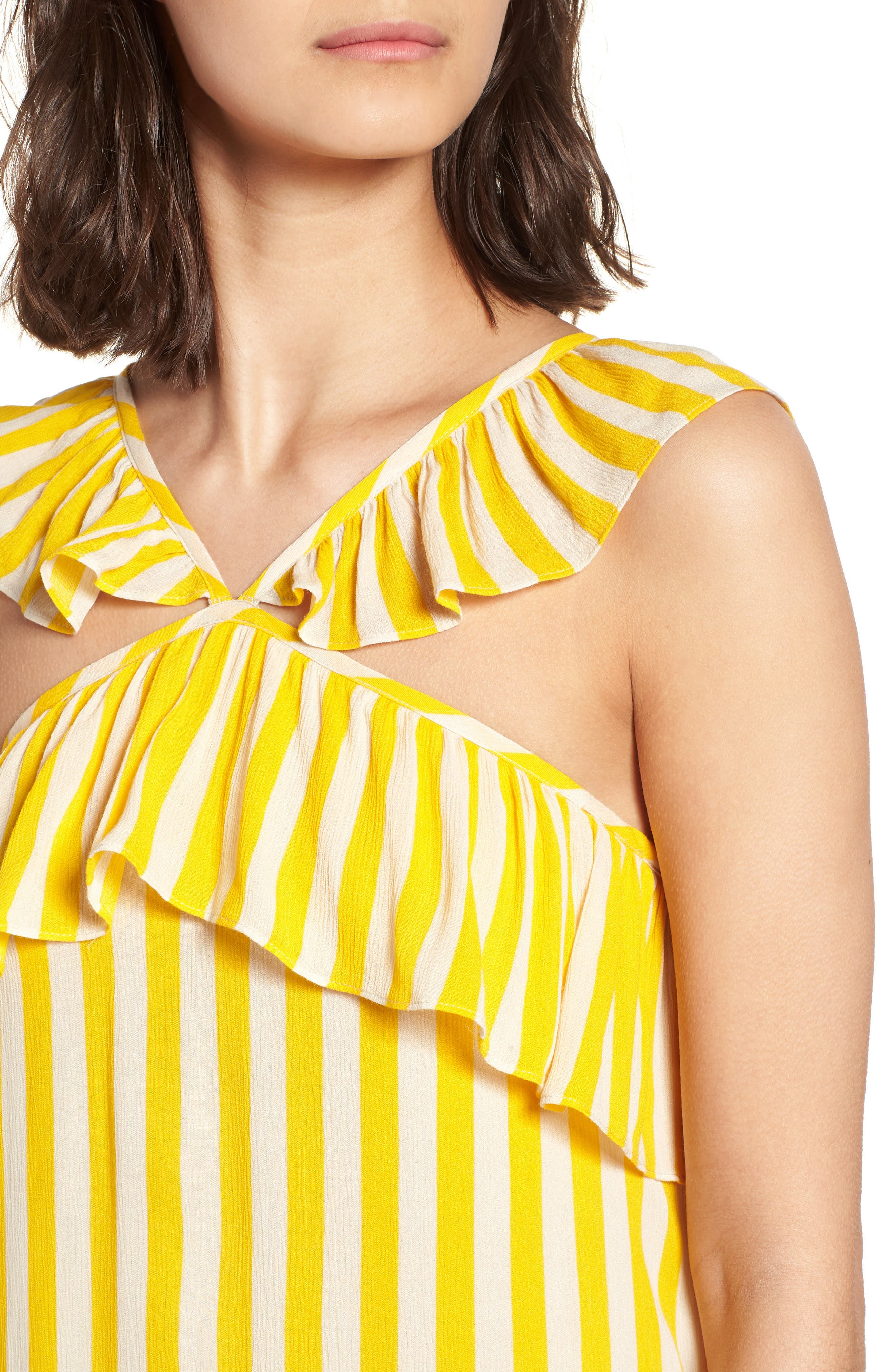 Tinsley Halter Dress,                             Alternate thumbnail 4, color,                             Yellow Stripe
