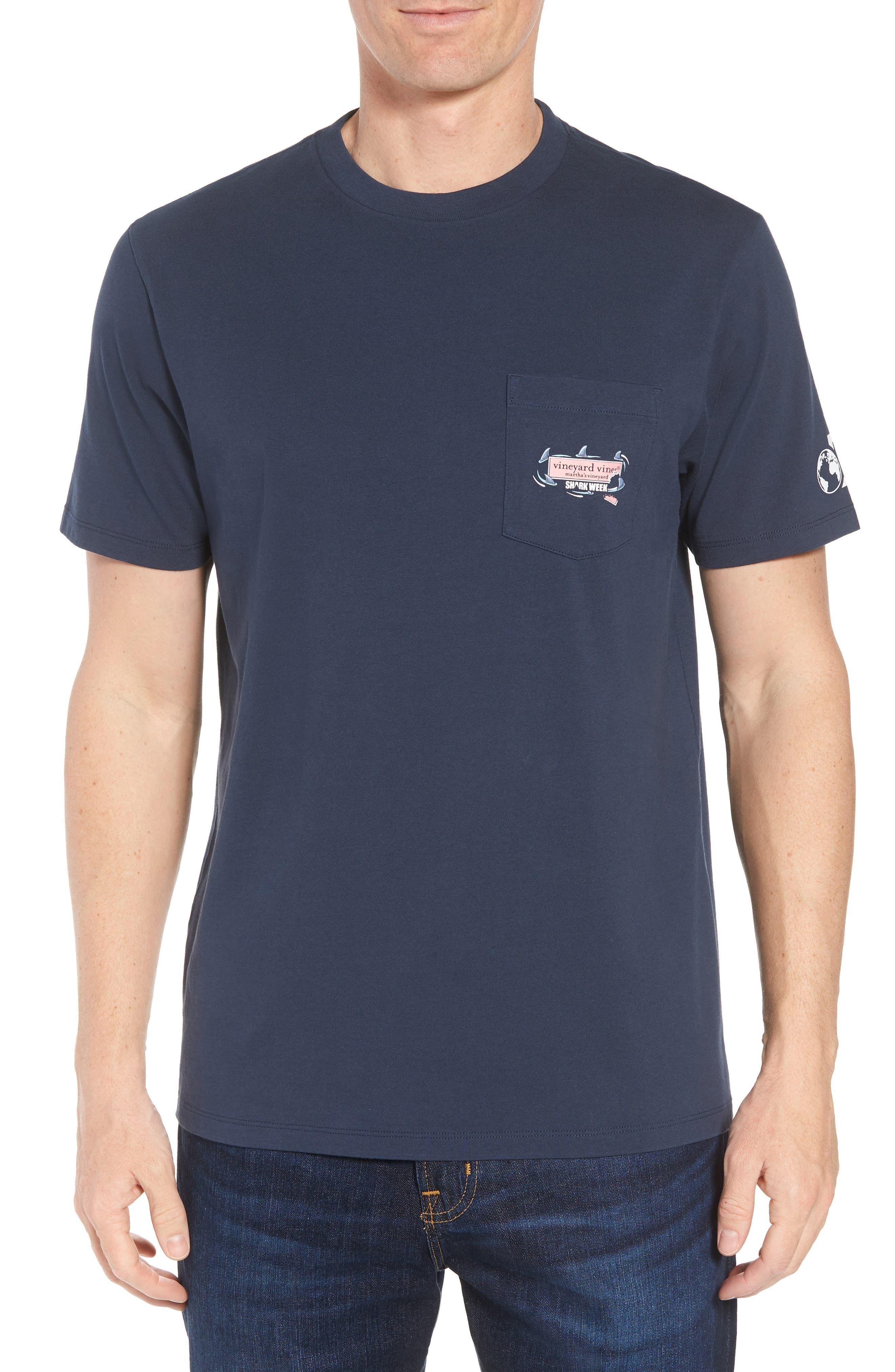 x Shark Week<sup>™</sup> Circling Sharks Pocket T-Shirt,                             Main thumbnail 1, color,                             Blue Blazer