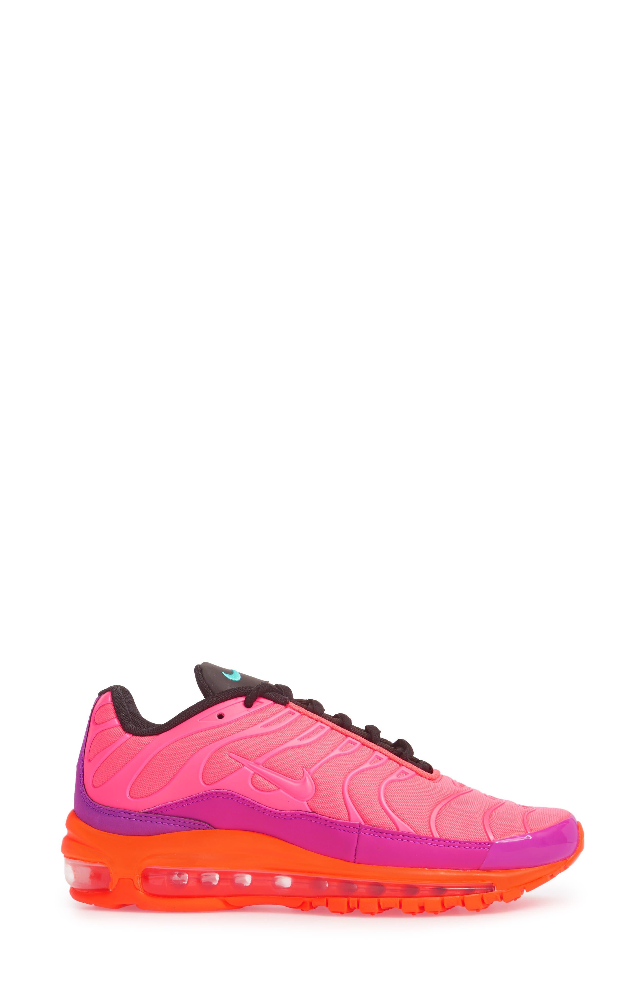 Air Max 97 Plus Sneaker,                             Alternate thumbnail 3, color,                             Racer Pink/ Magenta/ Crimson