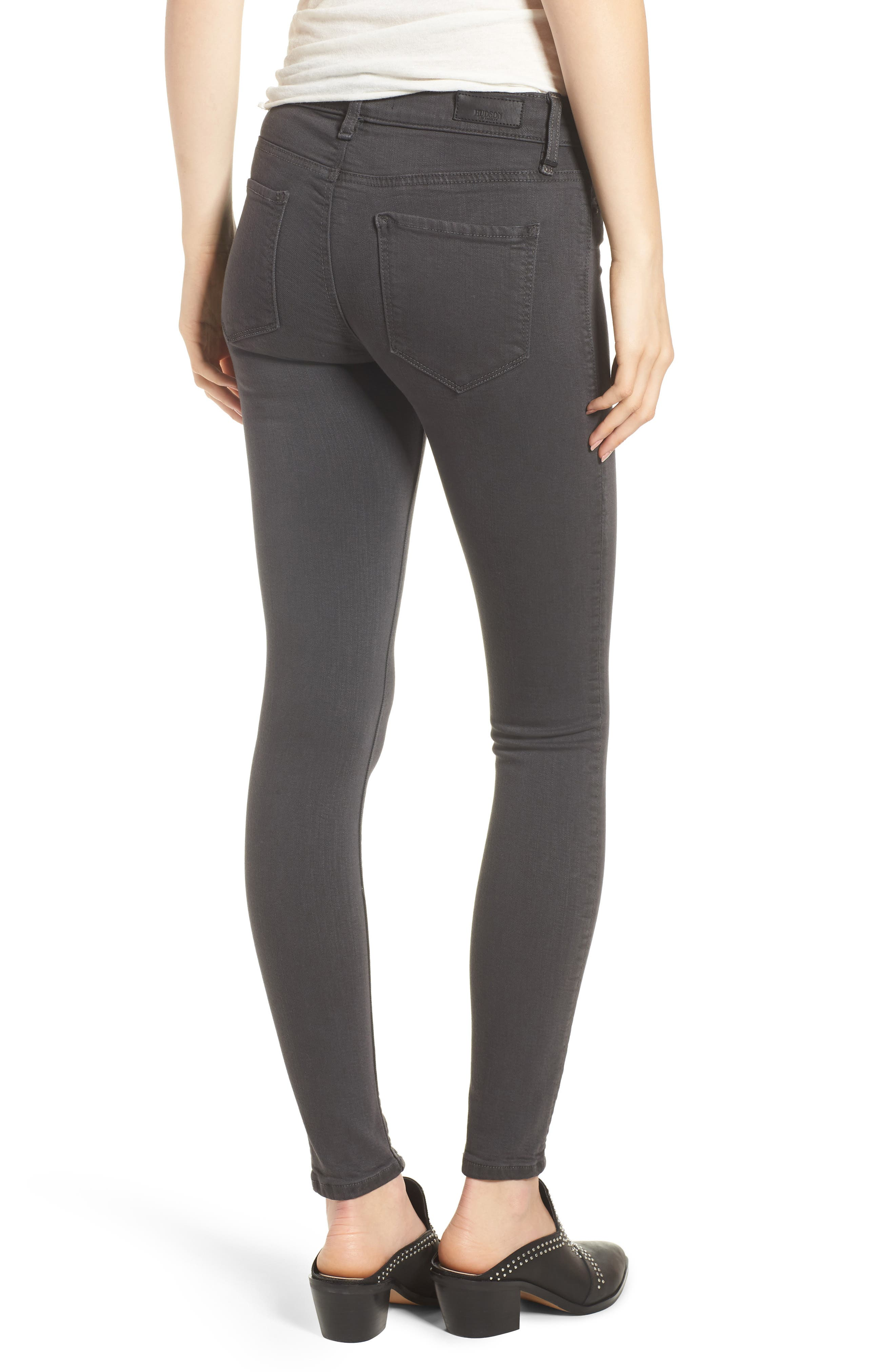 HudsonJeans Nico Coated Super Skinny Jeans,                             Alternate thumbnail 2, color,                             Distressed Graphite