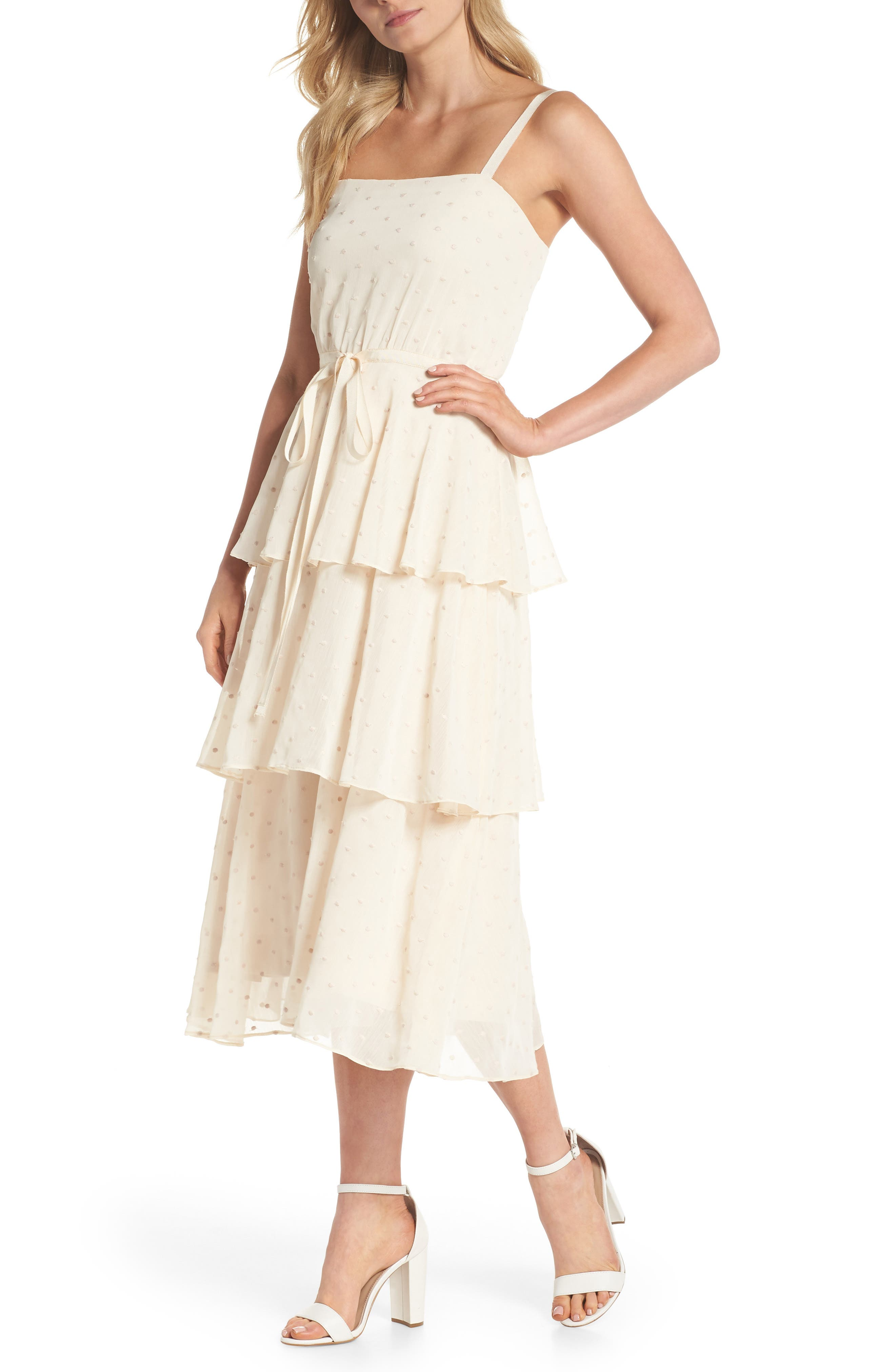 Florence Chiffon Embroidered Tiered A-Line Dress,                         Main,                         color, Bisque