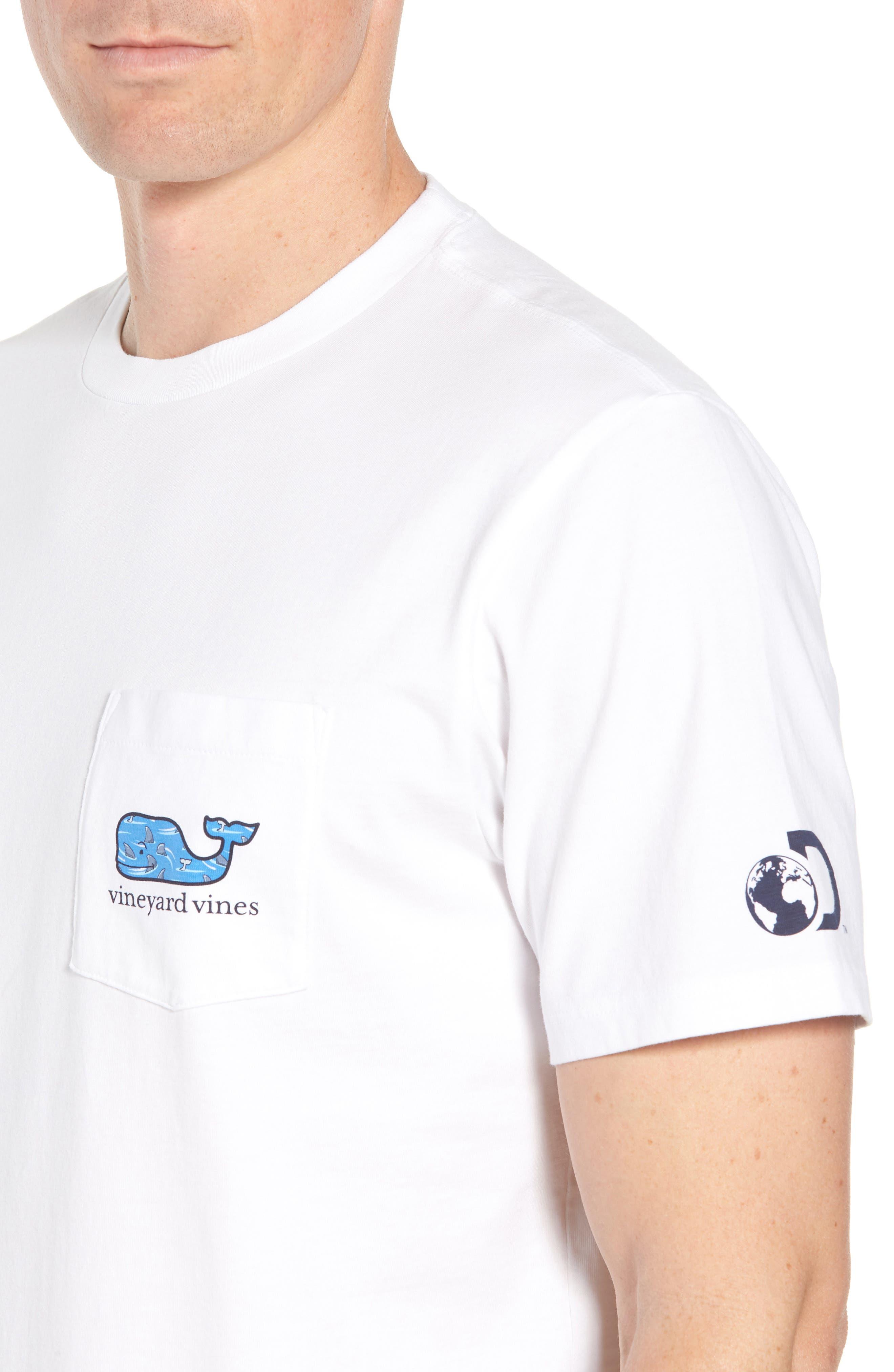 x Shark Week<sup>™</sup> Circling Sharks Pocket T-Shirt,                             Alternate thumbnail 4, color,                             White Cap