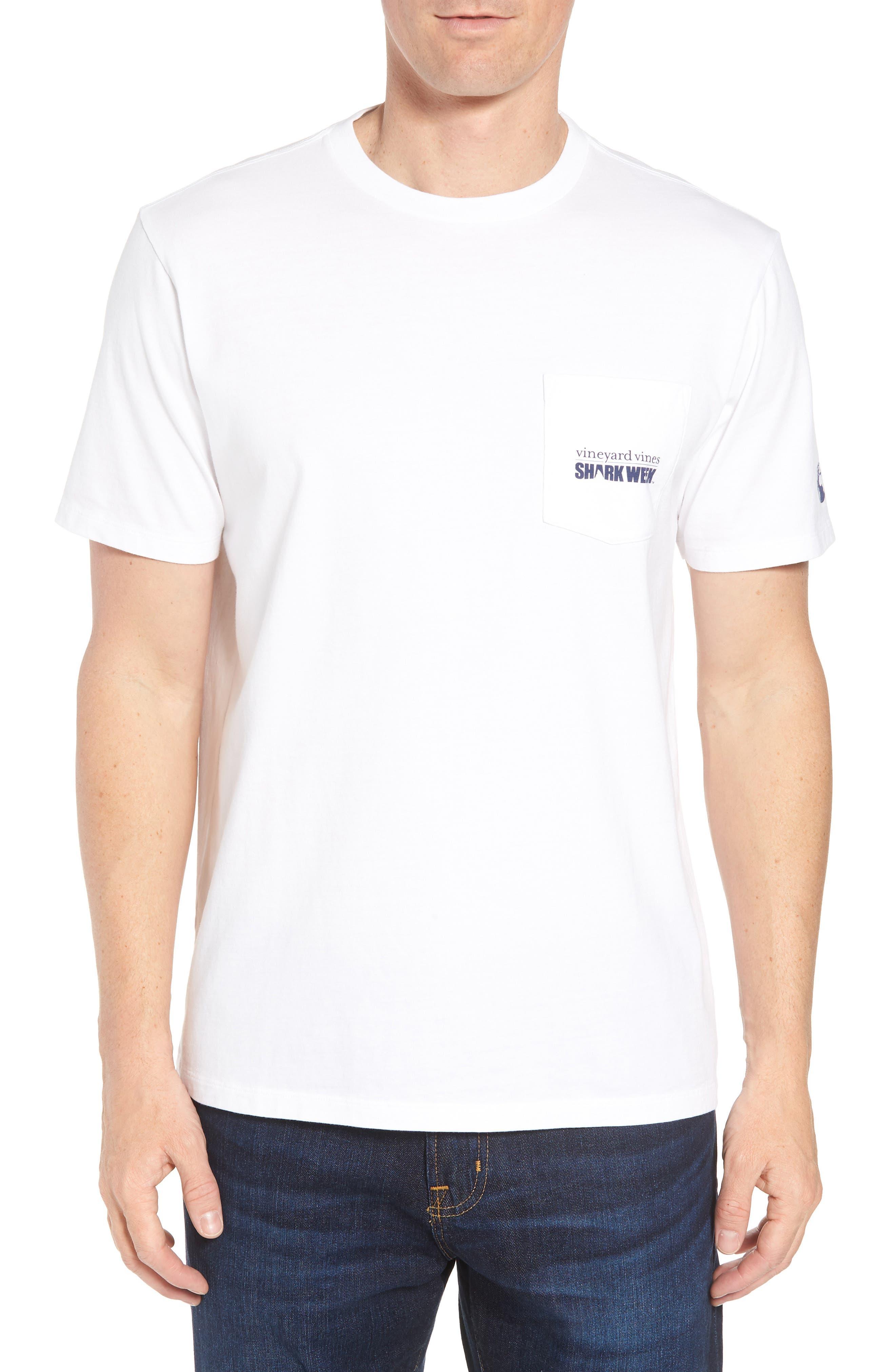 x Shark Week<sup>™</sup> Logo Pocket T-Shirt,                         Main,                         color, White Cap