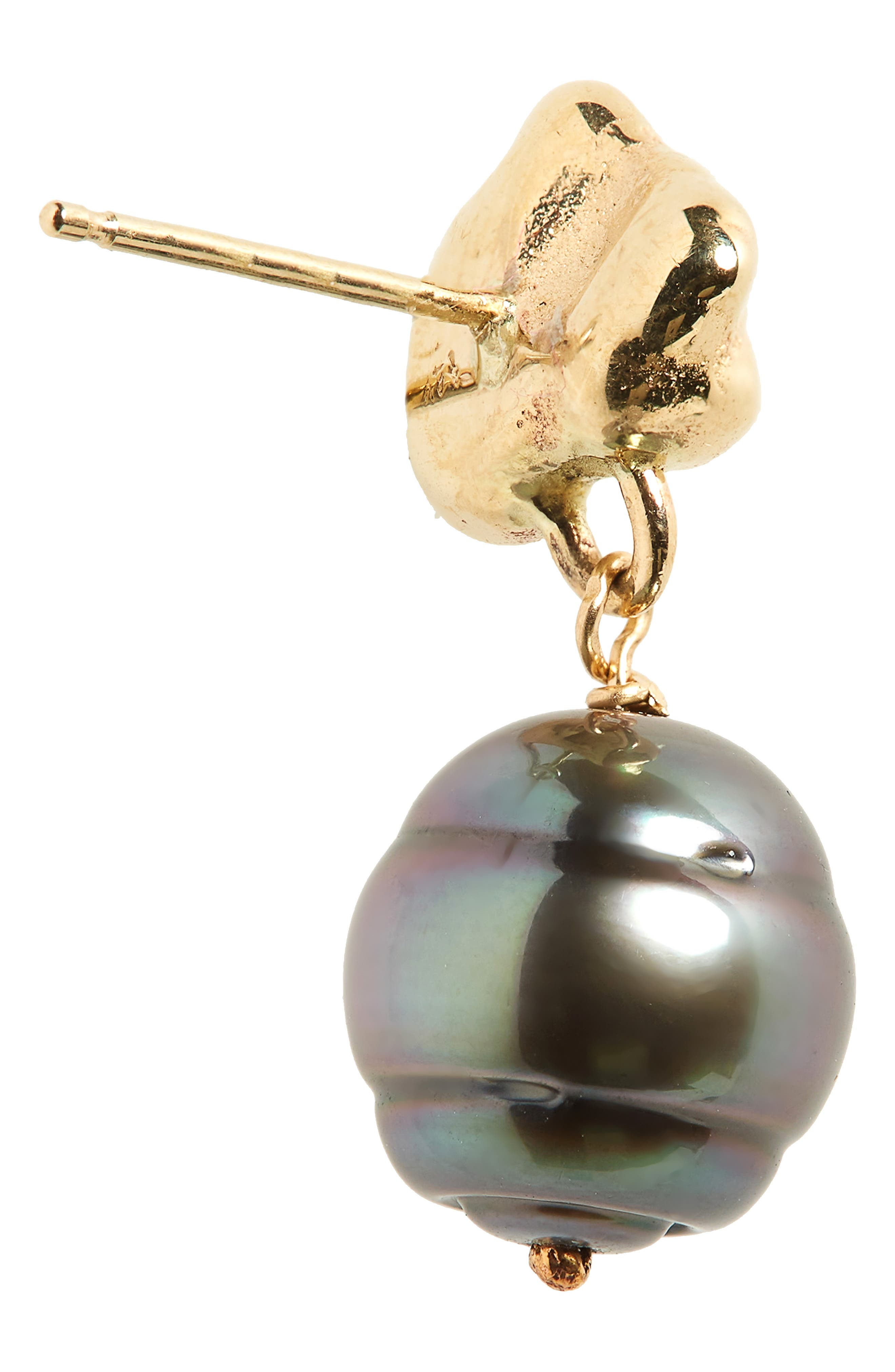 Black Pearl Drop Earrings,                             Alternate thumbnail 4, color,                             Gold/ Black Pearl