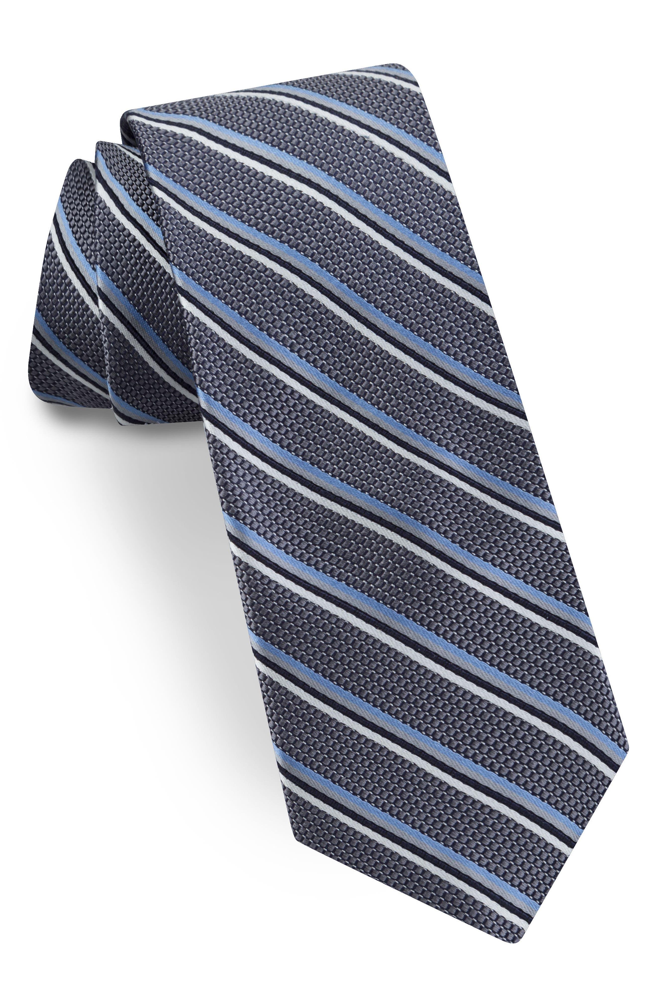 Striped Silk Tie,                         Main,                         color, Silver