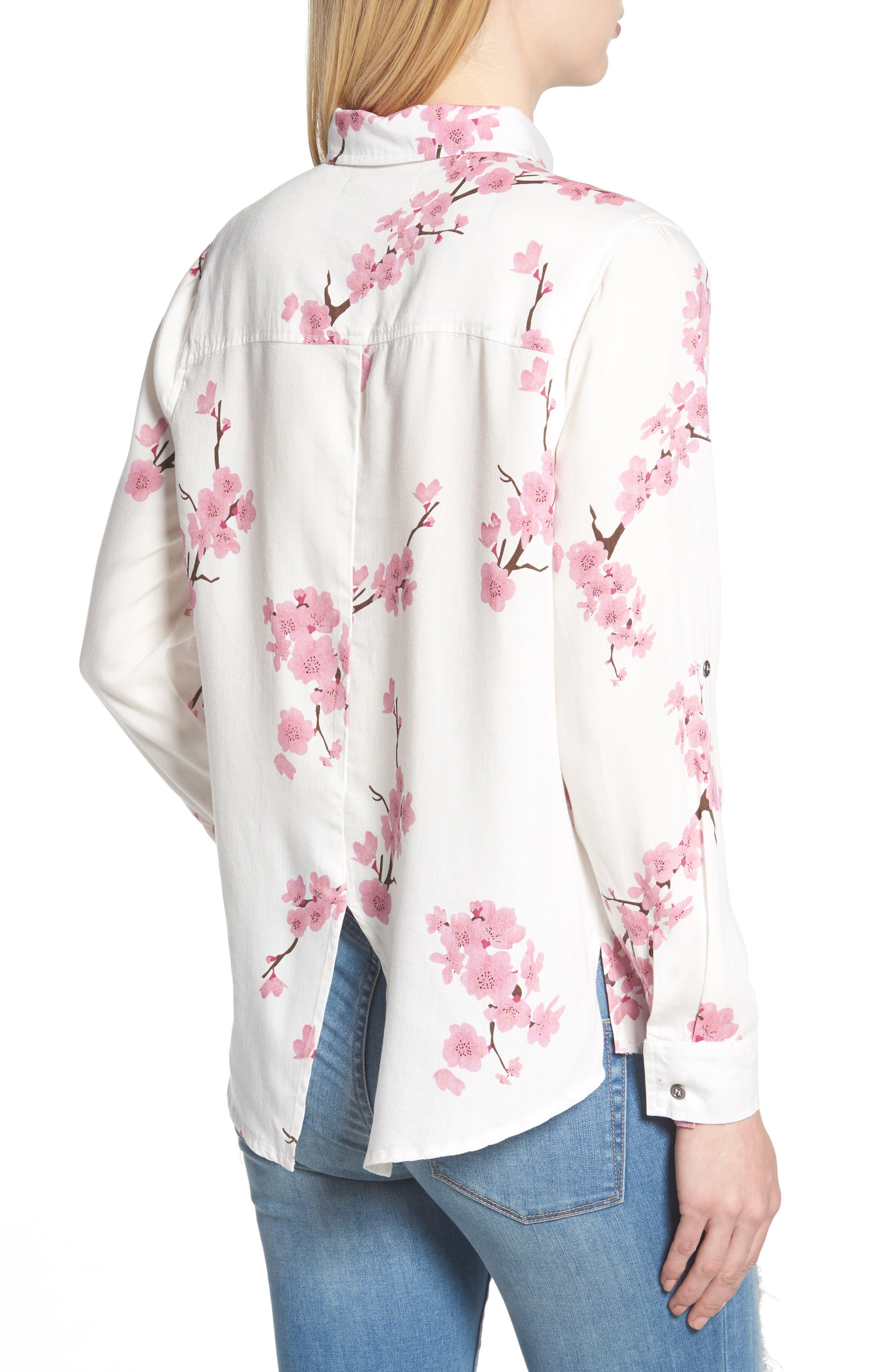 Cherry Blossom Roll Tab Sleeve Shirt,                             Alternate thumbnail 2, color,                             White Cherry Blossom