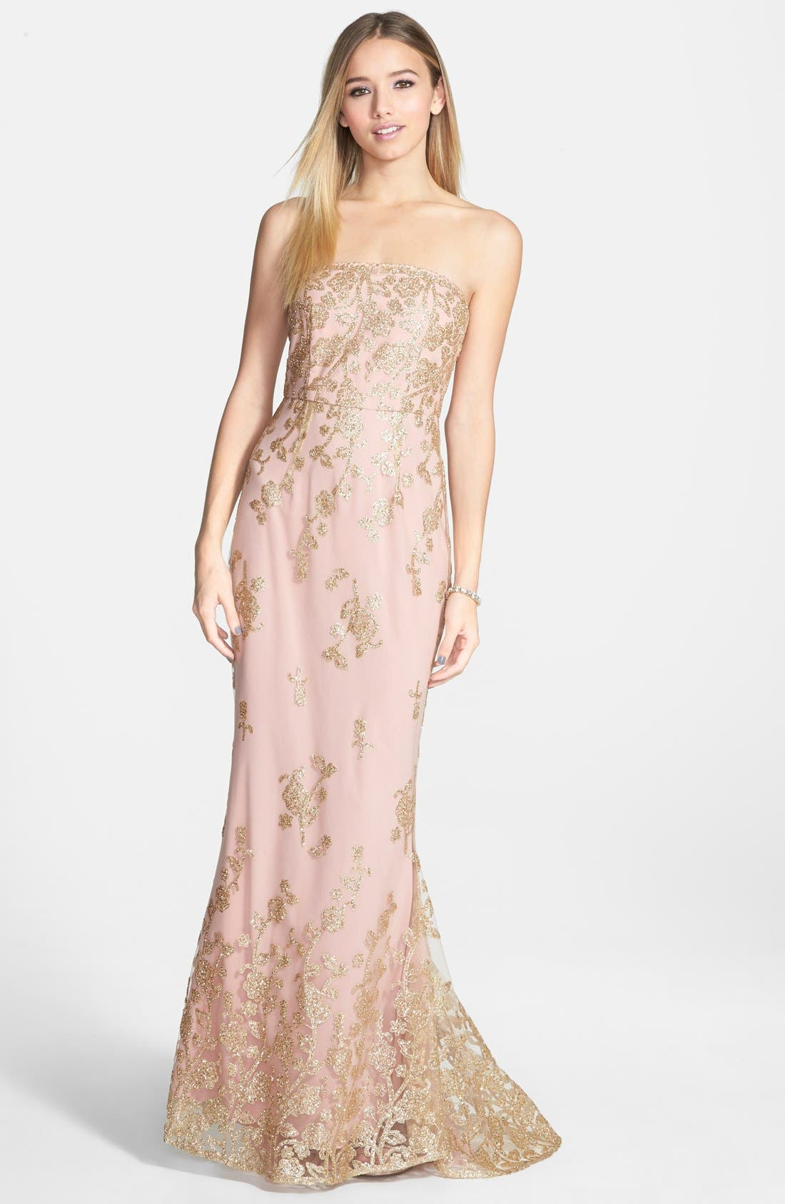 'Autumn' Strapless Gown,                         Main,                         color, Blush As Sampled