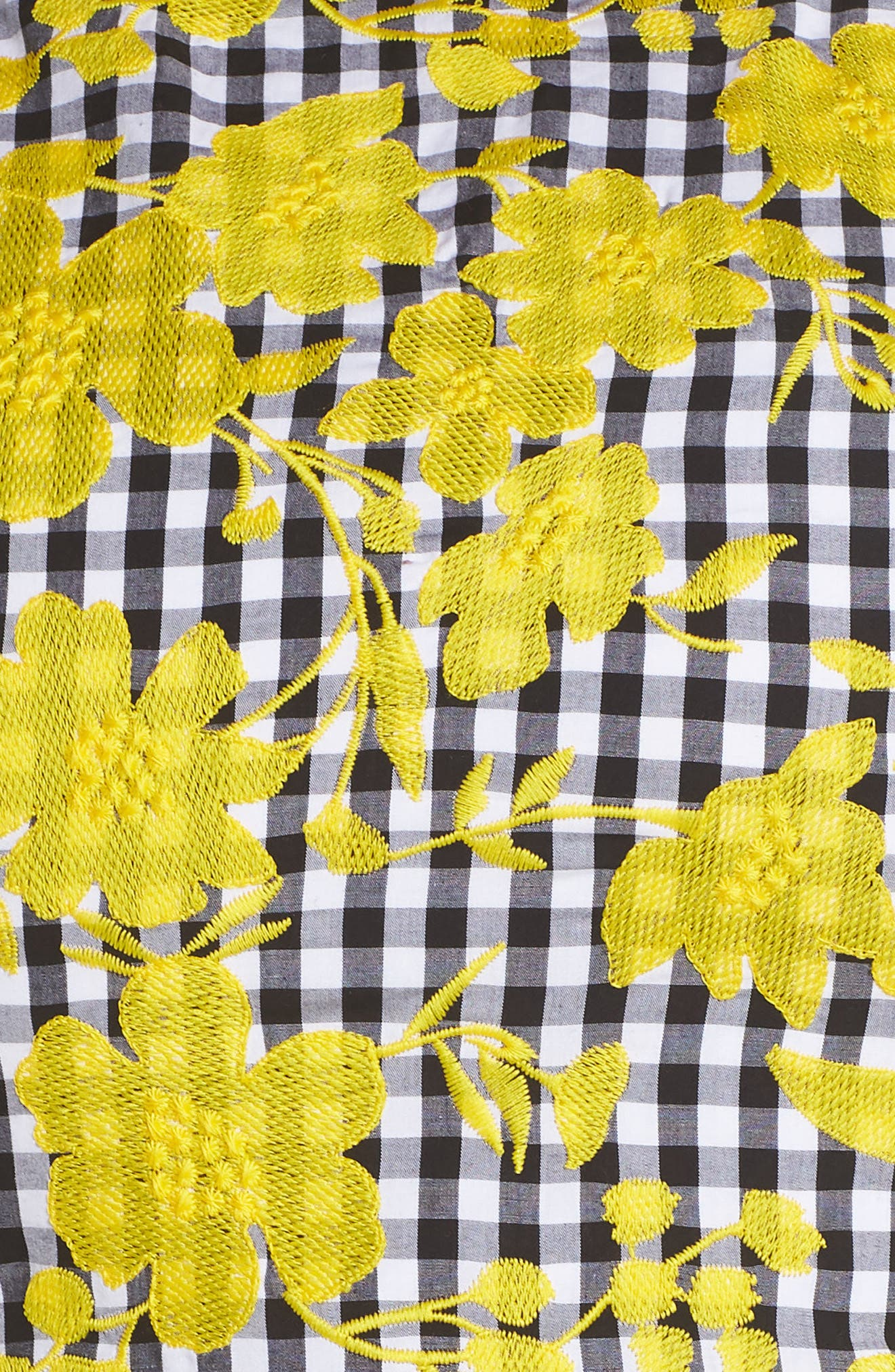 Embroidered Gingham Fit & Flare Dress,                             Alternate thumbnail 6, color,                             Yellow- Black Gingham