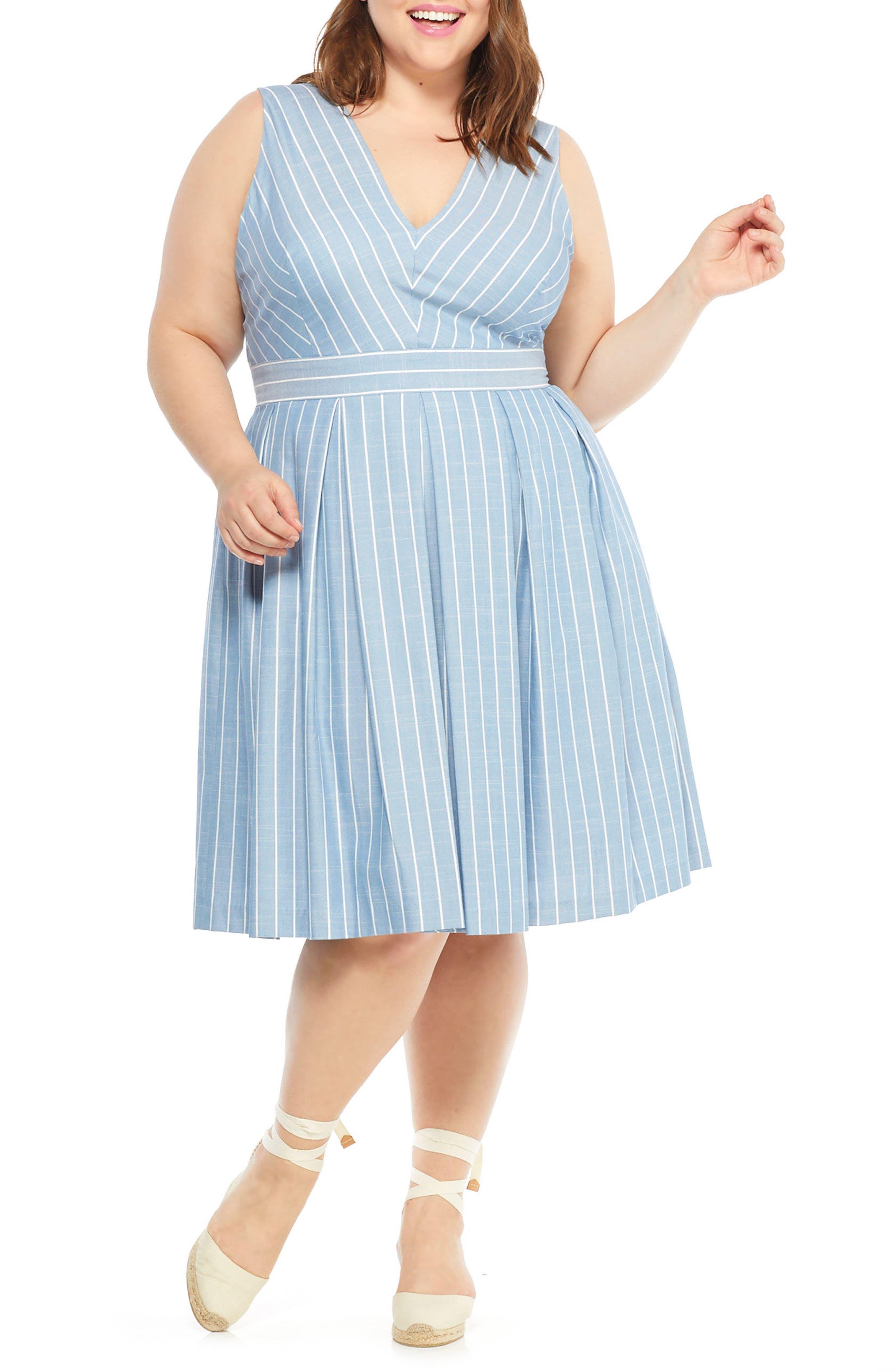Samantha Slub Stripe Fit & Flare Dress,                             Alternate thumbnail 7, color,                             Blue/ White