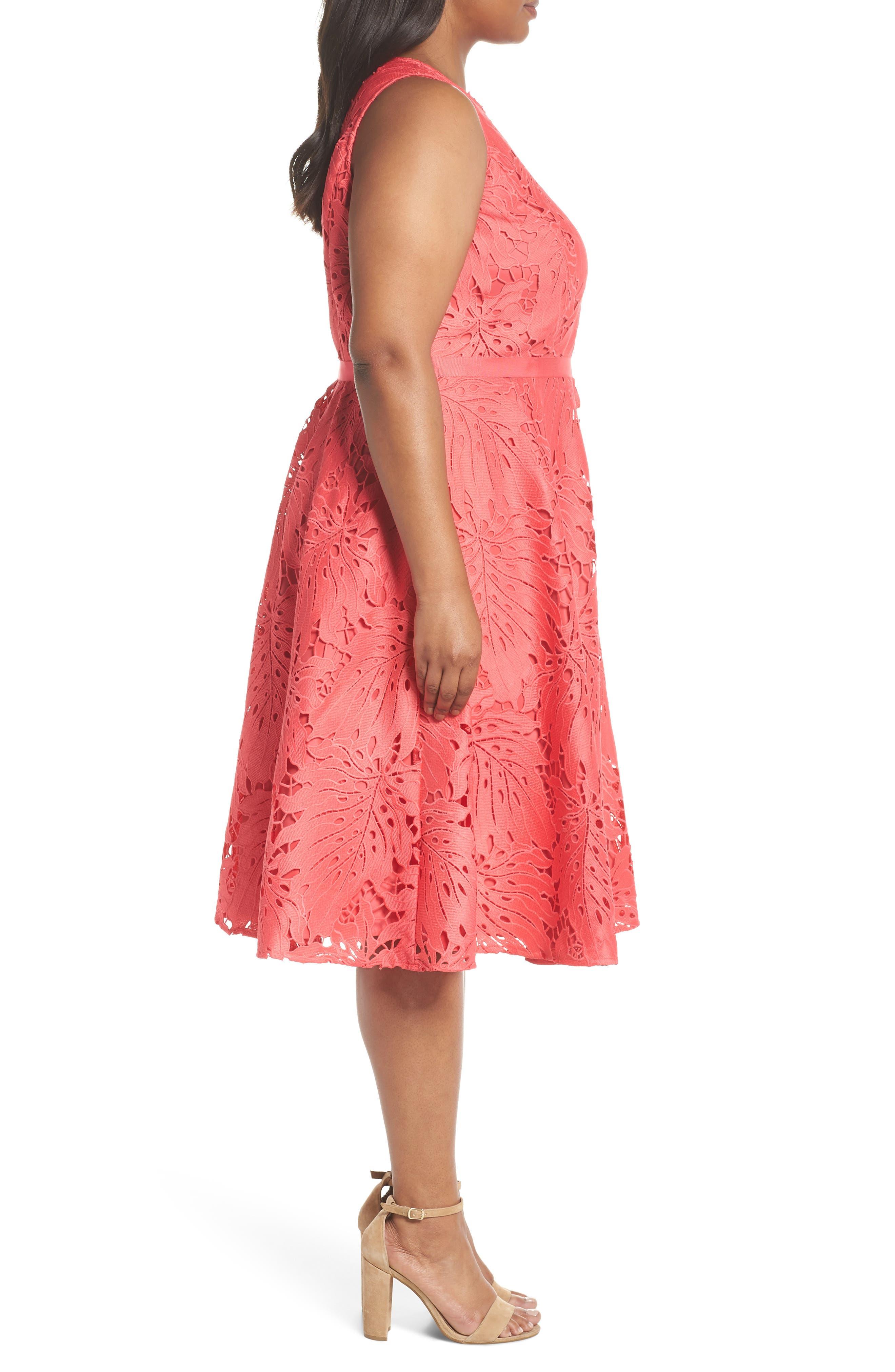 Palm Leaf Chemical Lace A-Line Dress,                             Alternate thumbnail 3, color,                             Watermelon