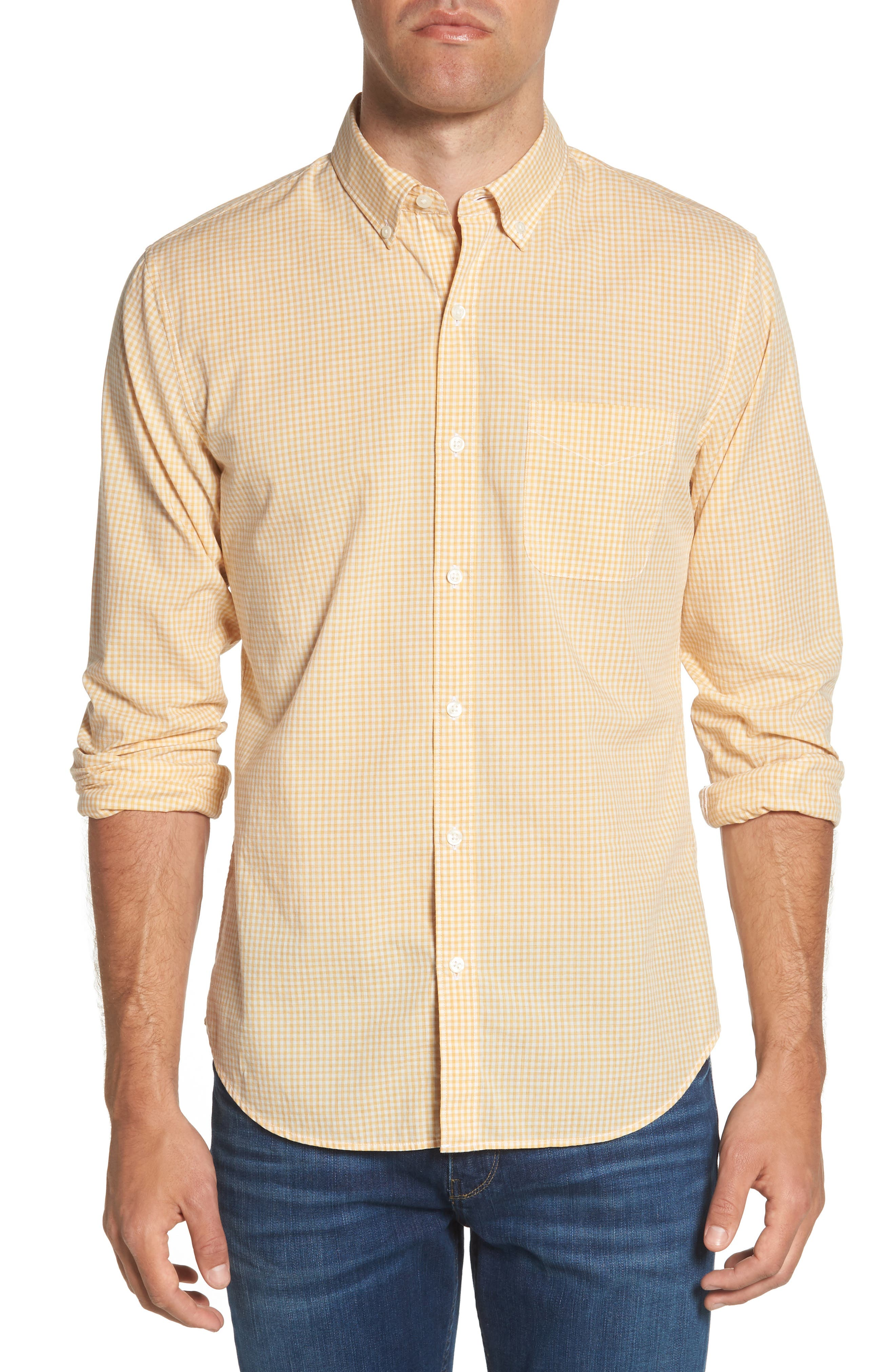 Summerweight Slim Fit Gingham Sport Shirt,                         Main,                         color, Heathered - Heather Gold