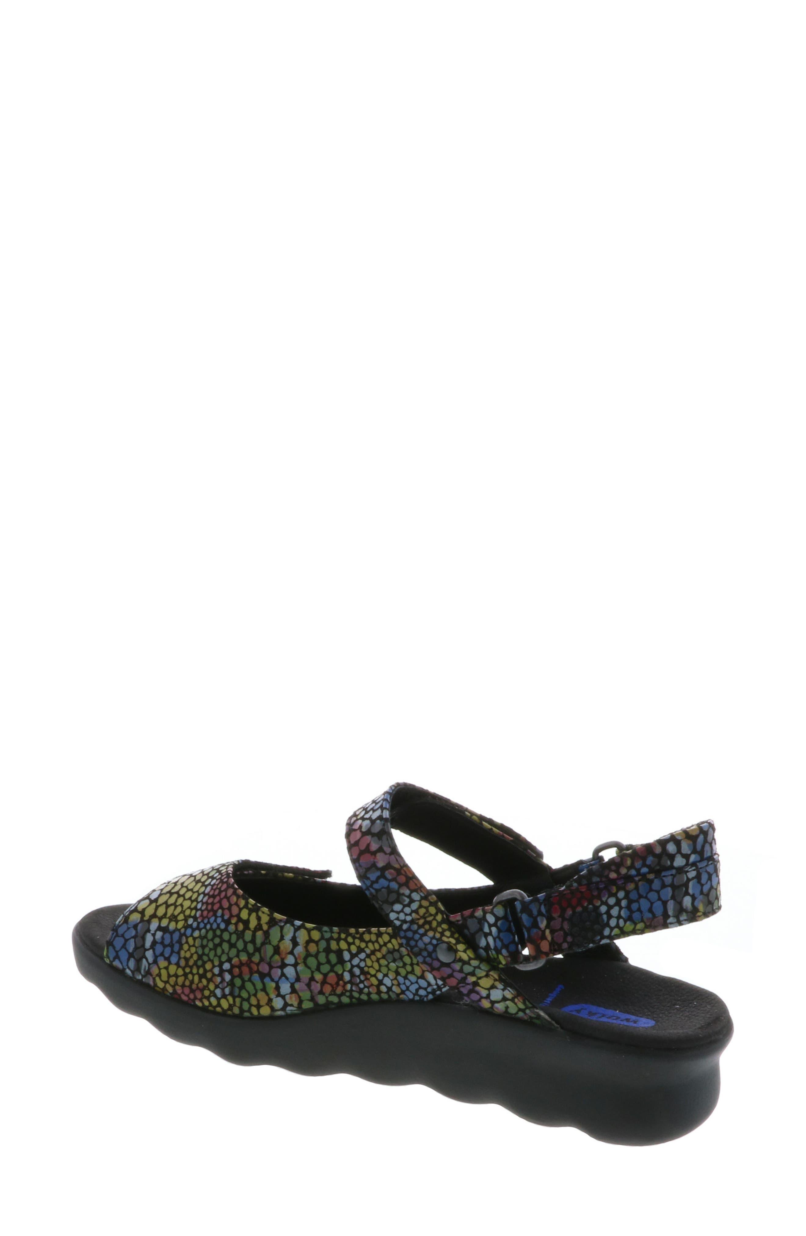 Pichu Quarter Strap Sandal,                             Alternate thumbnail 2, color,                             Black Multi Color Fantasy
