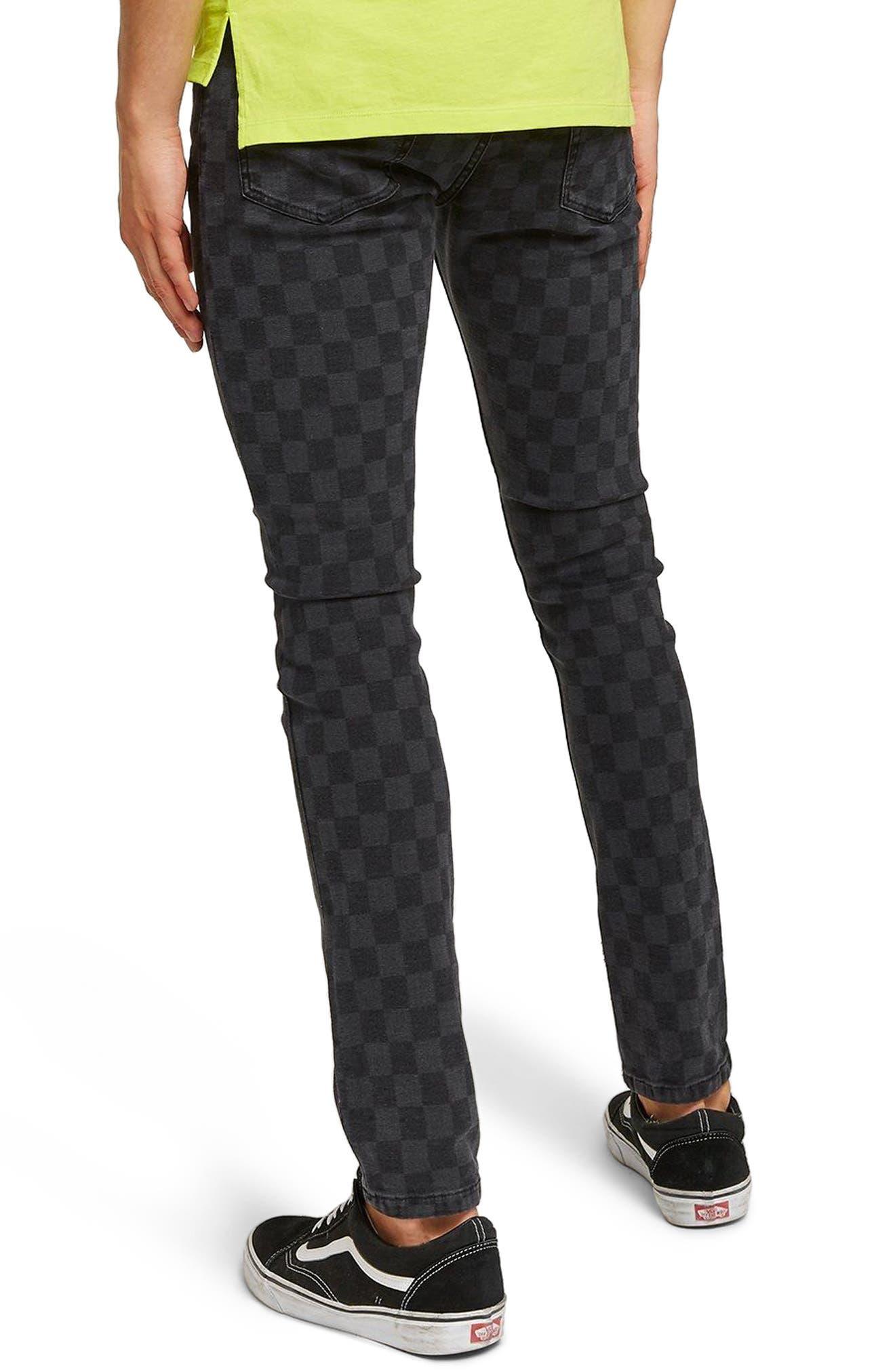 Check Stretch Skinny Fit Pants,                             Alternate thumbnail 2, color,                             Black Multi
