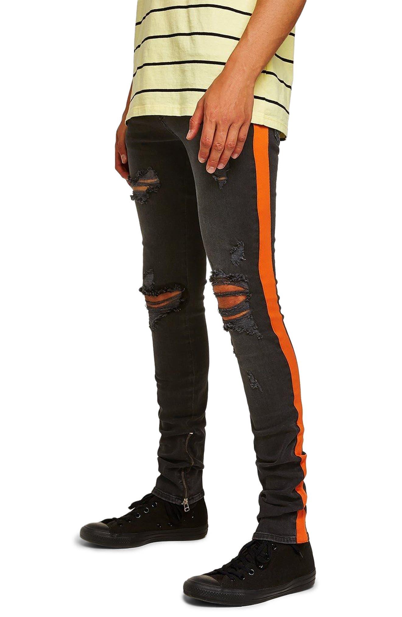 Topman Side Tape Ripped Stacker Fit Jeans