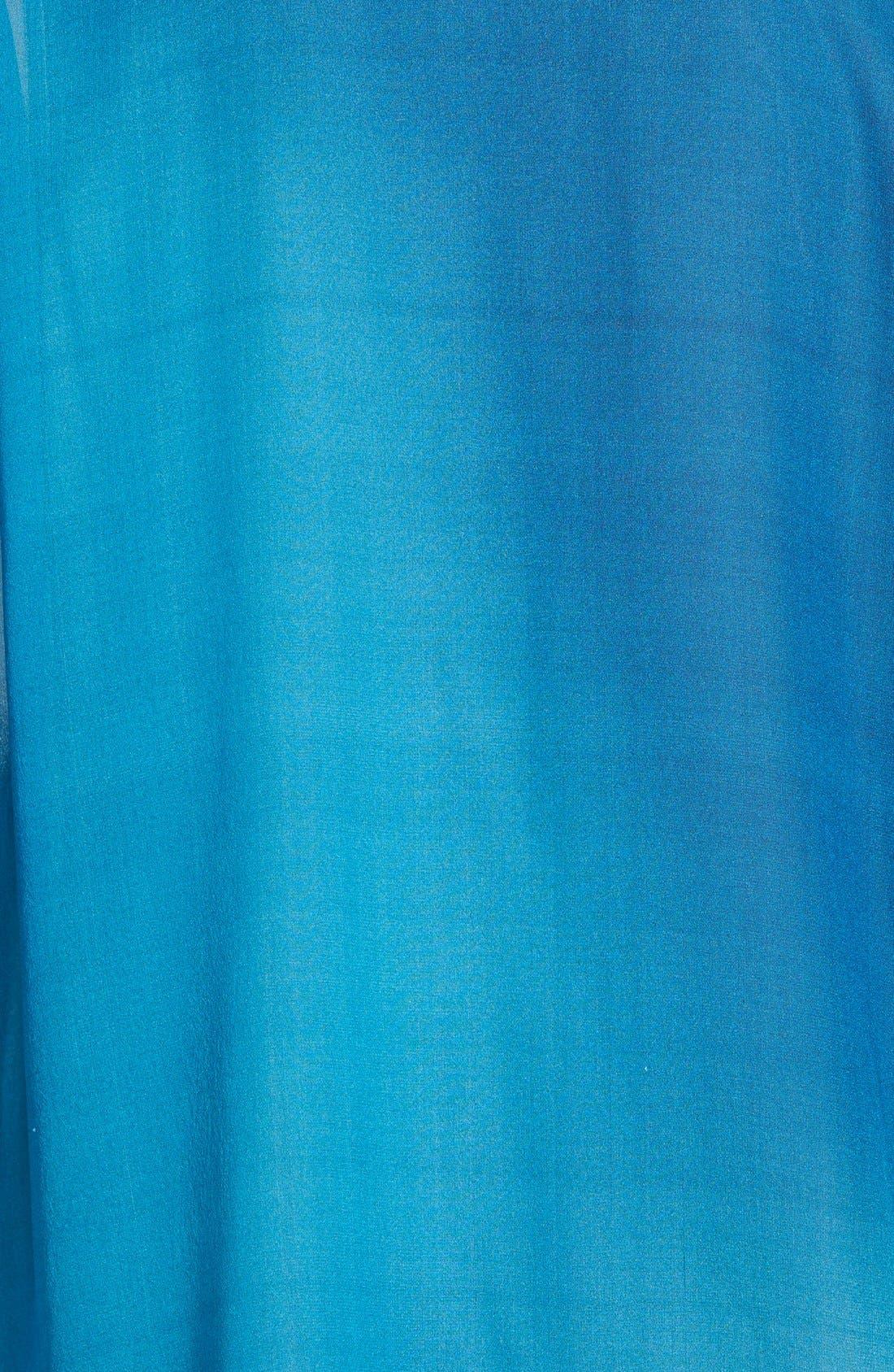 Ombré Silk Short Sleeve Top,                             Alternate thumbnail 3, color,                             Jewel