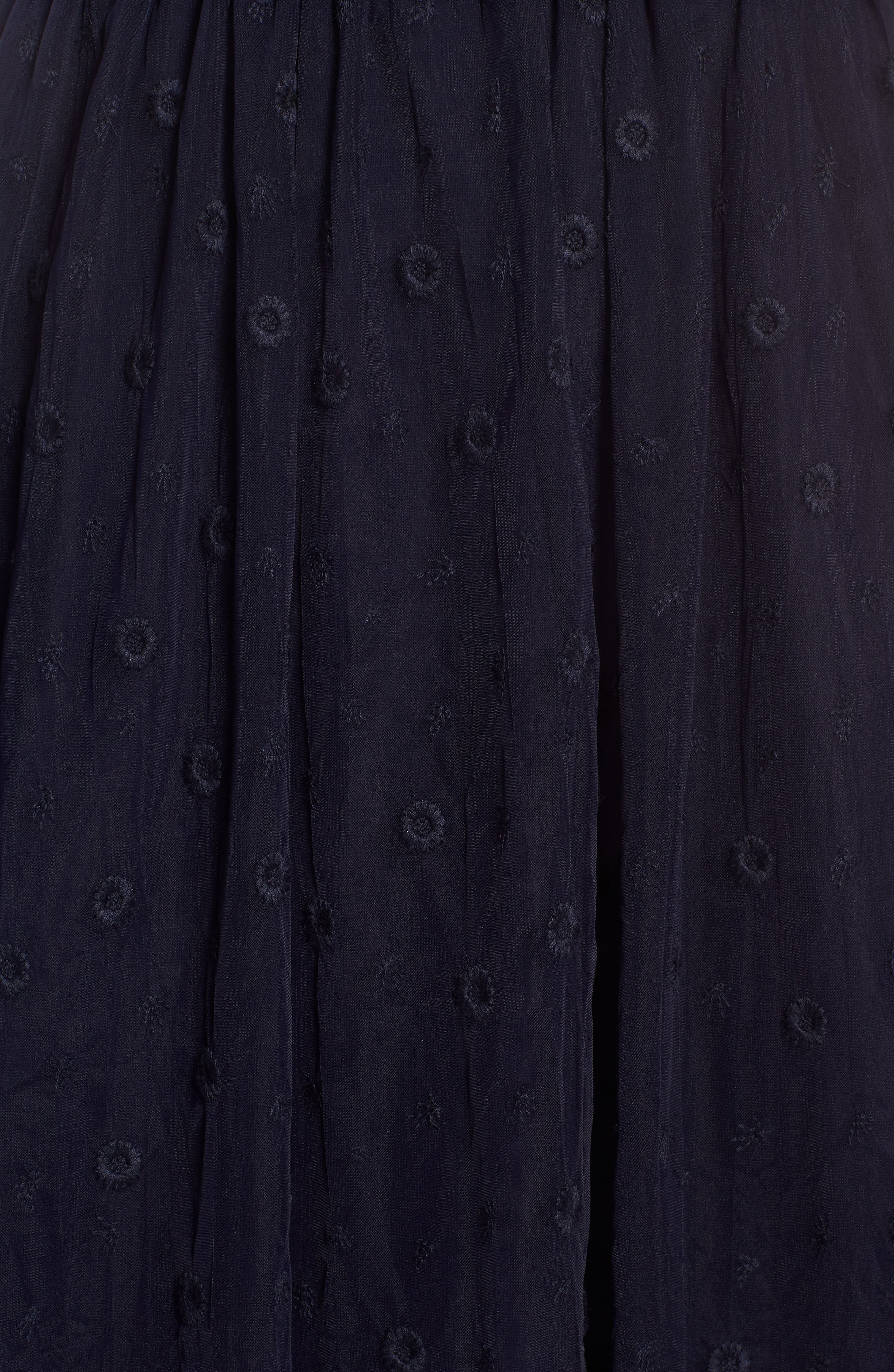 Embroidered Tulle Skirt,                             Alternate thumbnail 5, color,                             Navy Night