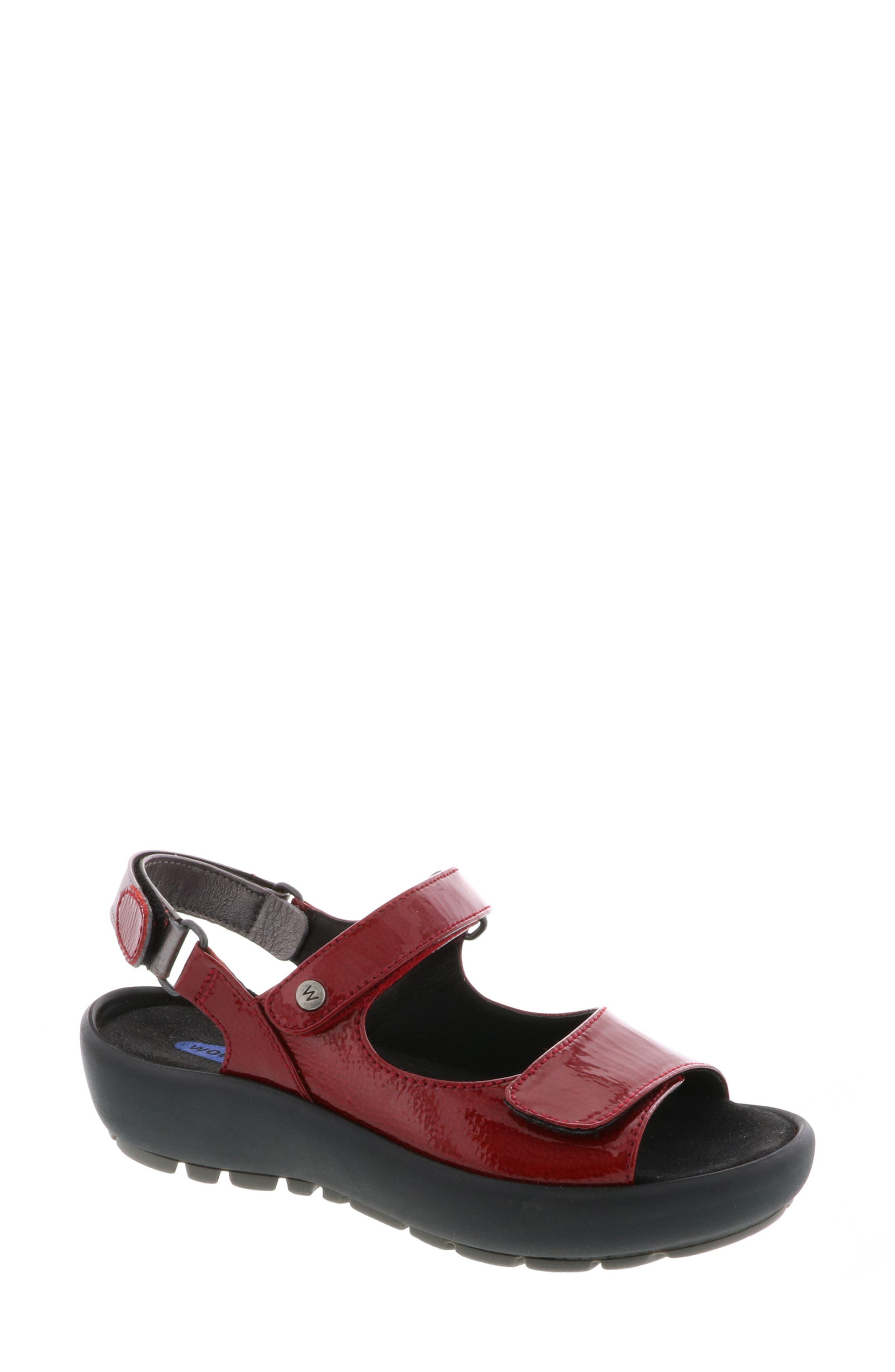 Rio Sandal,                             Main thumbnail 1, color,                             Red Patent Leather