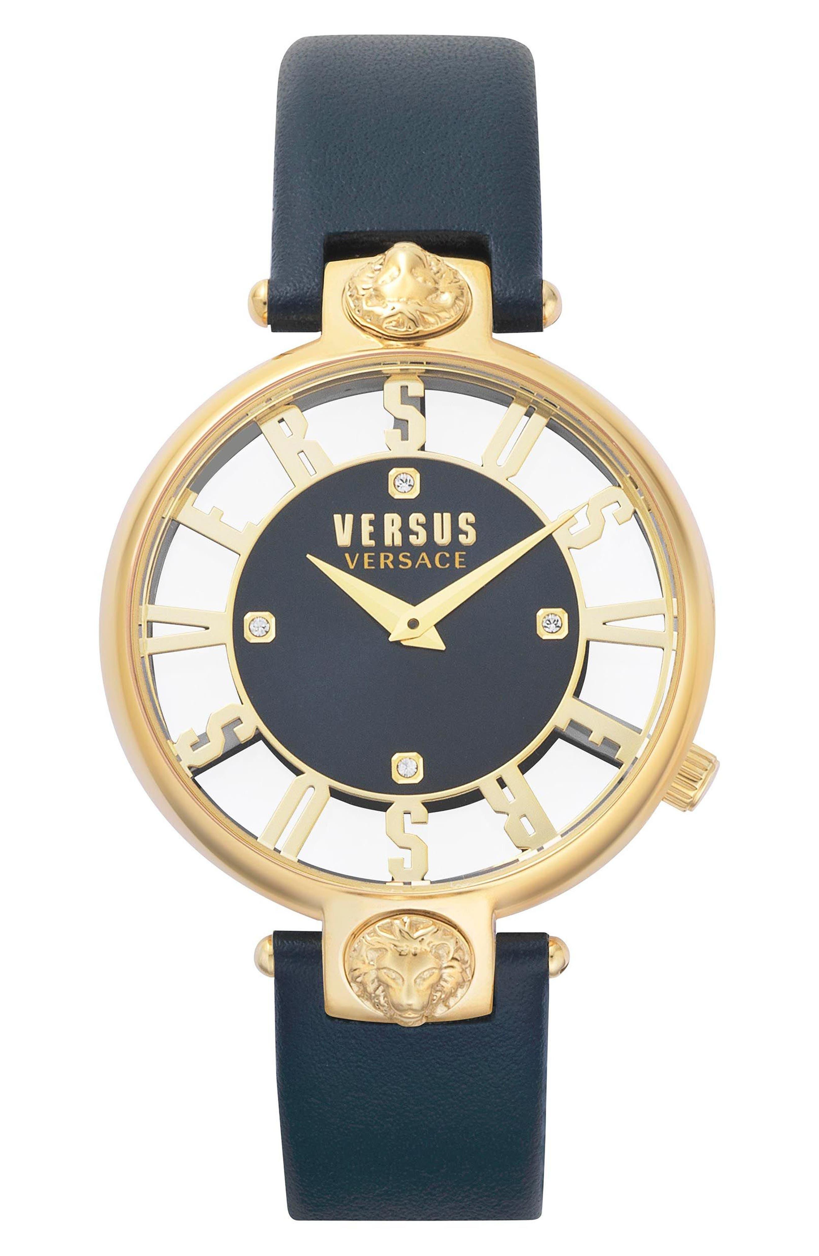 VERSUS by Versace Kristenhof Leather Strap Watch, 34mm,                             Main thumbnail 1, color,                             Blue/ Gold