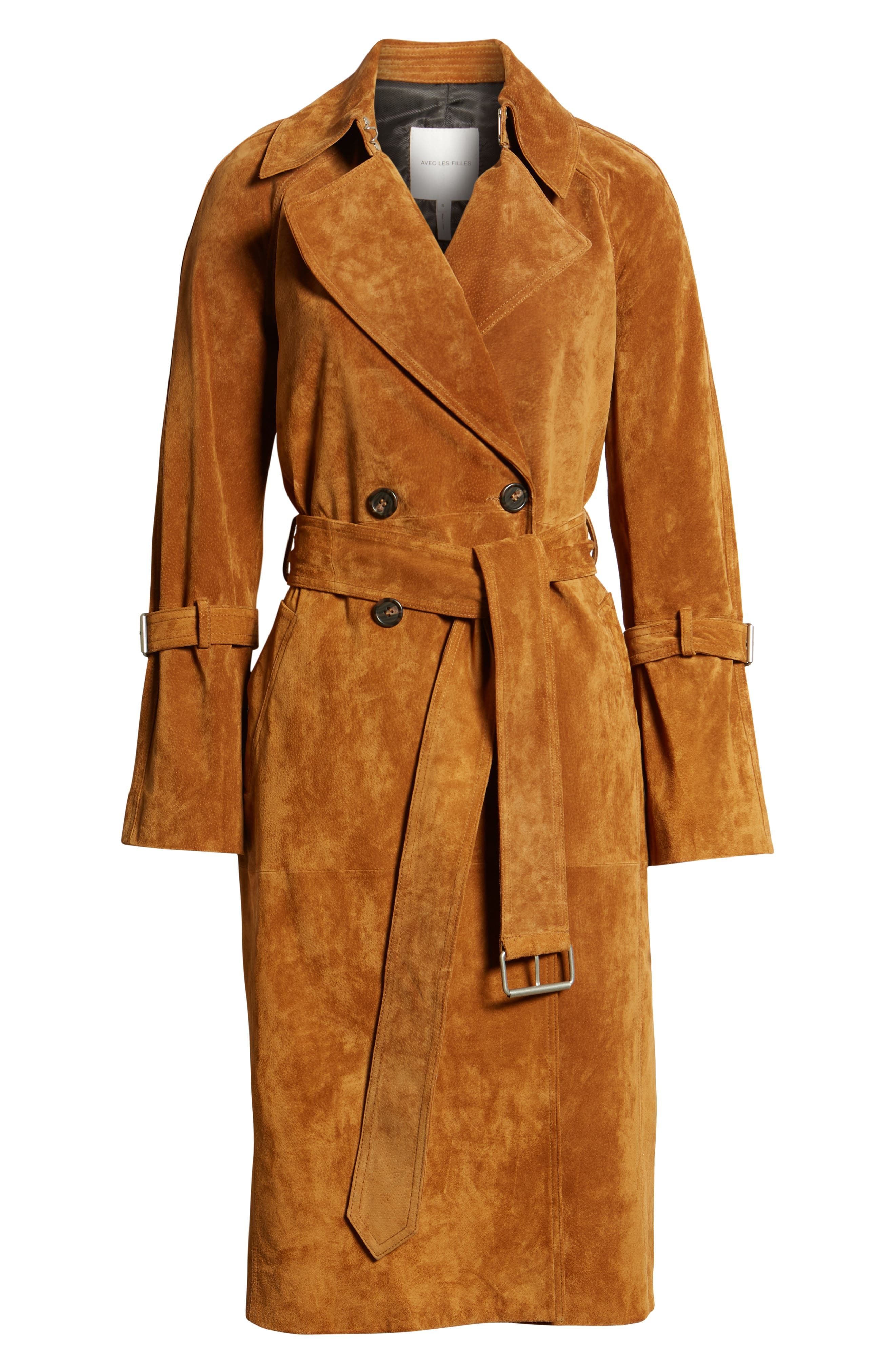 Genuine Suede Trench Coat,                             Alternate thumbnail 7, color,                             Brandy