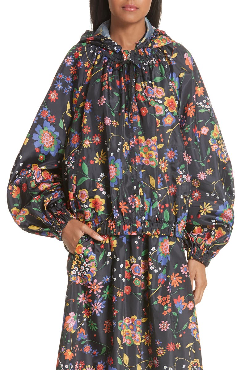 Print Tech Floral Detachable Hood Water Repellent Jacket