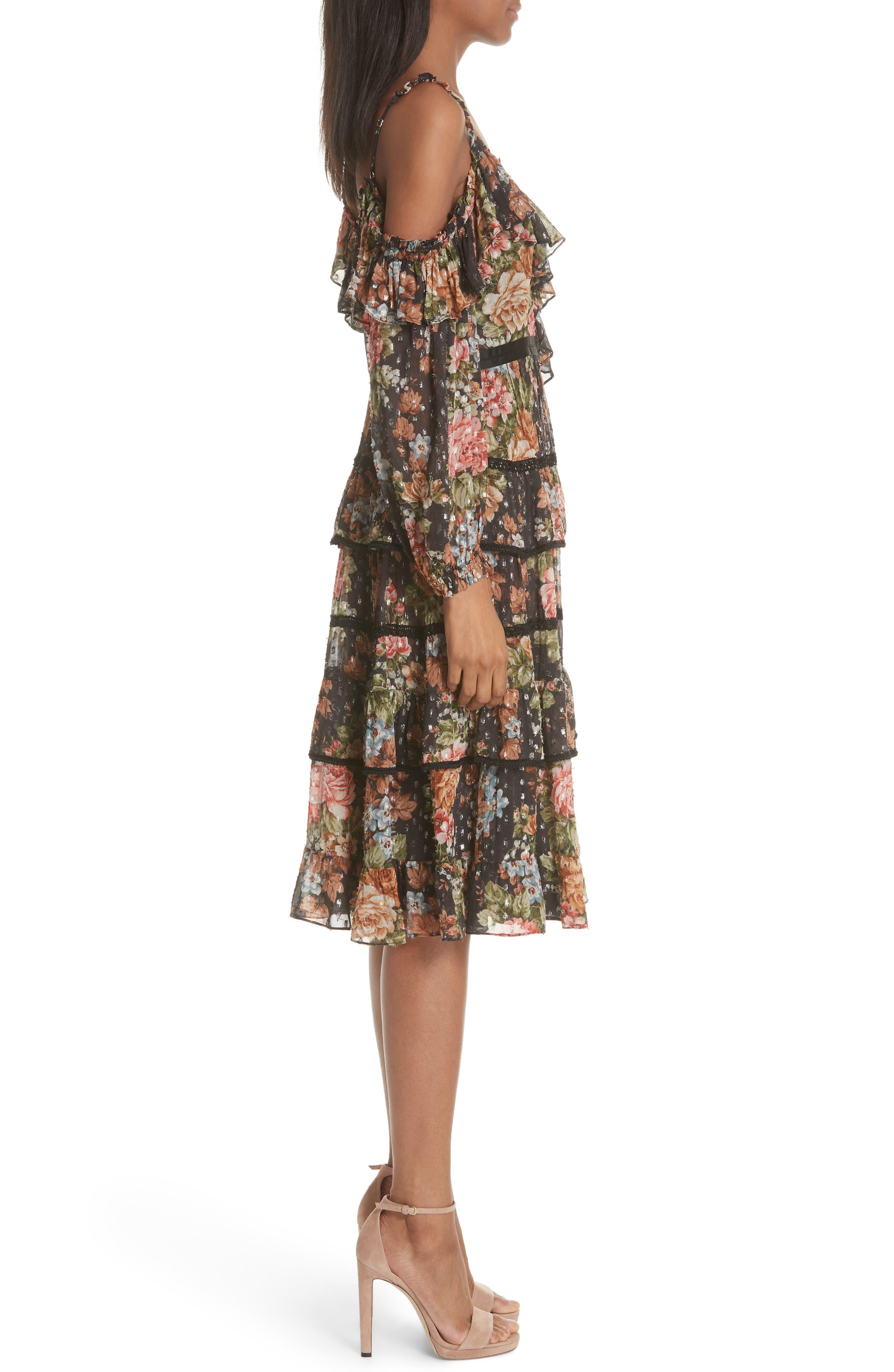 Paradise Rose Shimmer Dress,                             Alternate thumbnail 3, color,                             Graphite