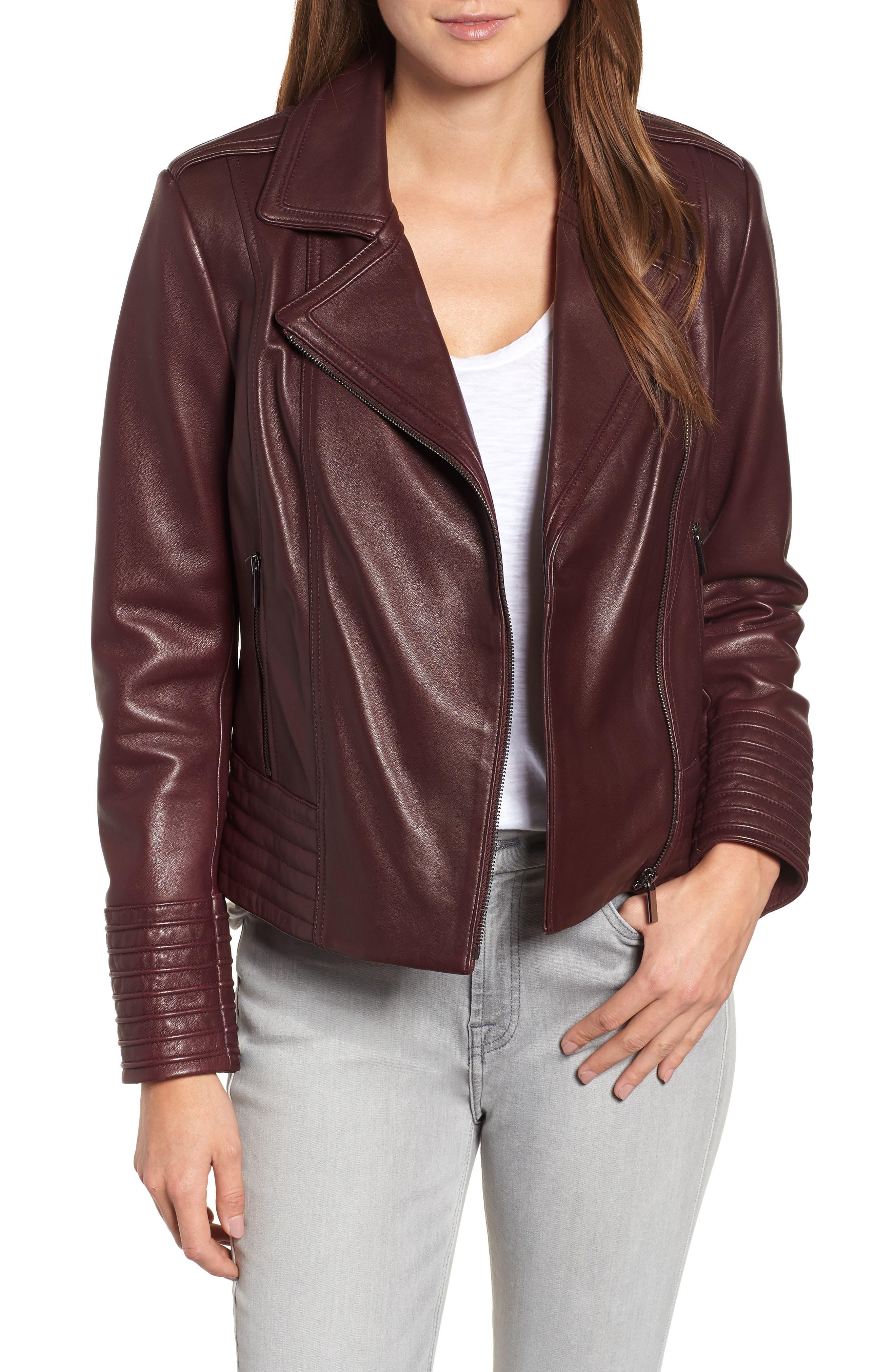 Gia Leather Biker Jacket,                         Main,                         color, Burgundy