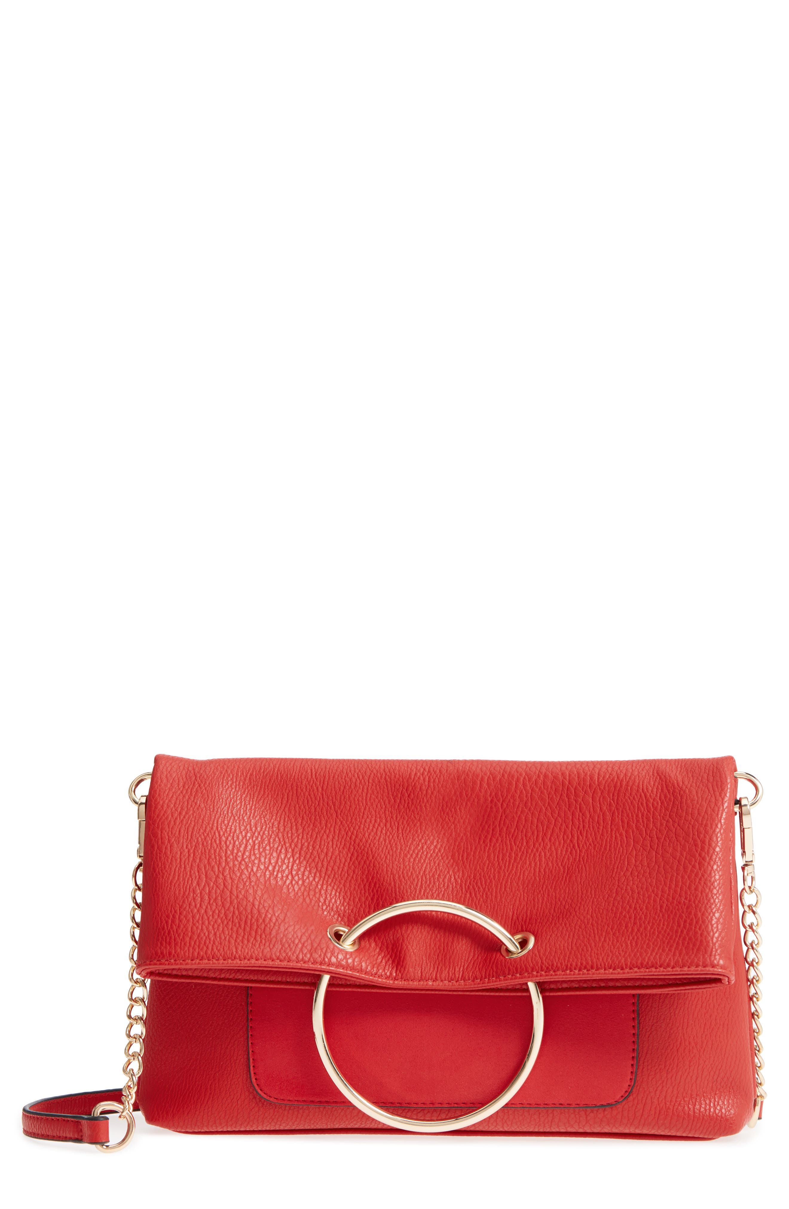 Foldover Ring Clutch,                             Main thumbnail 1, color,                             Red