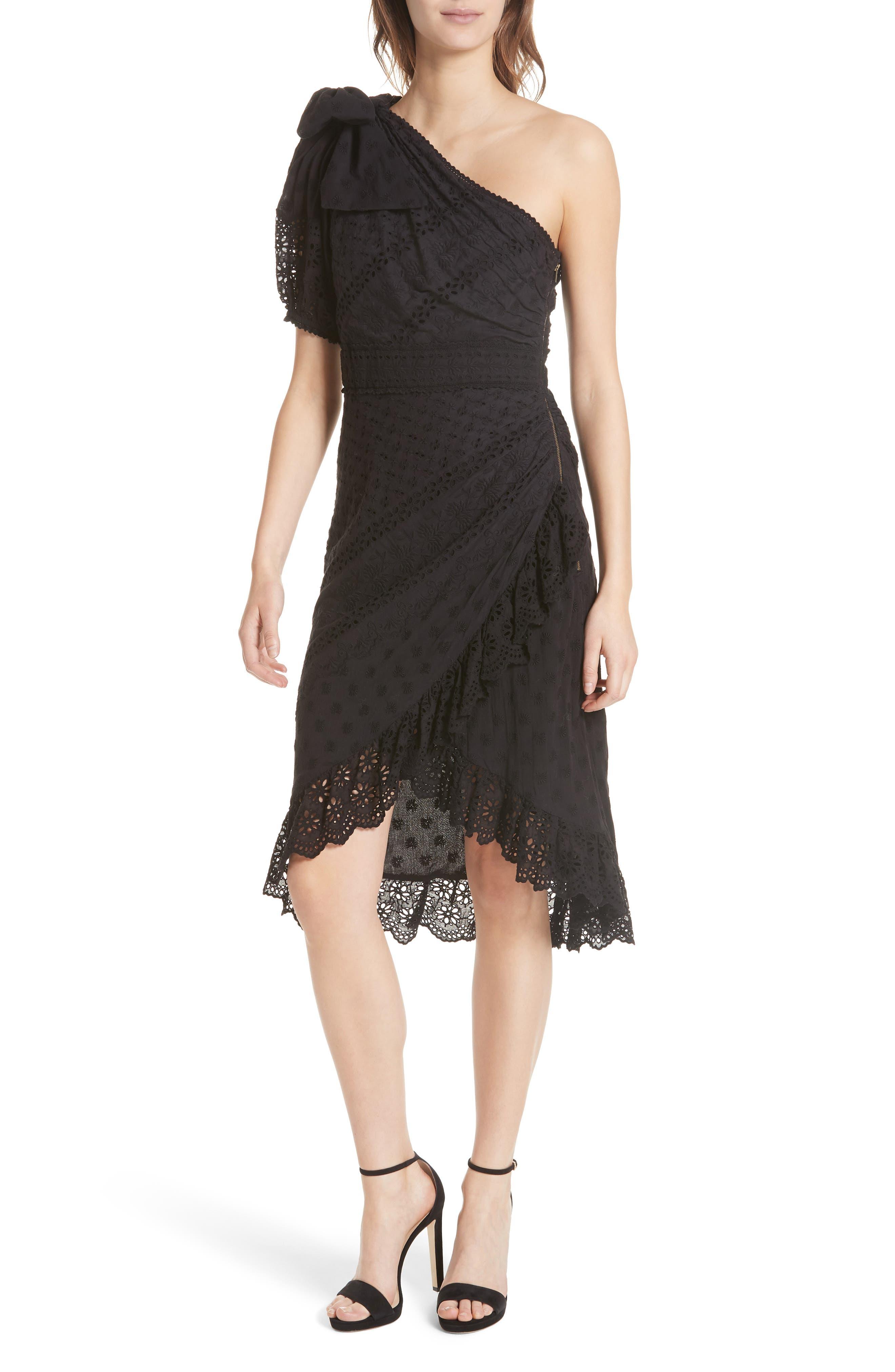 Gweneth One-Shoulder Dress,                         Main,                         color, Noir