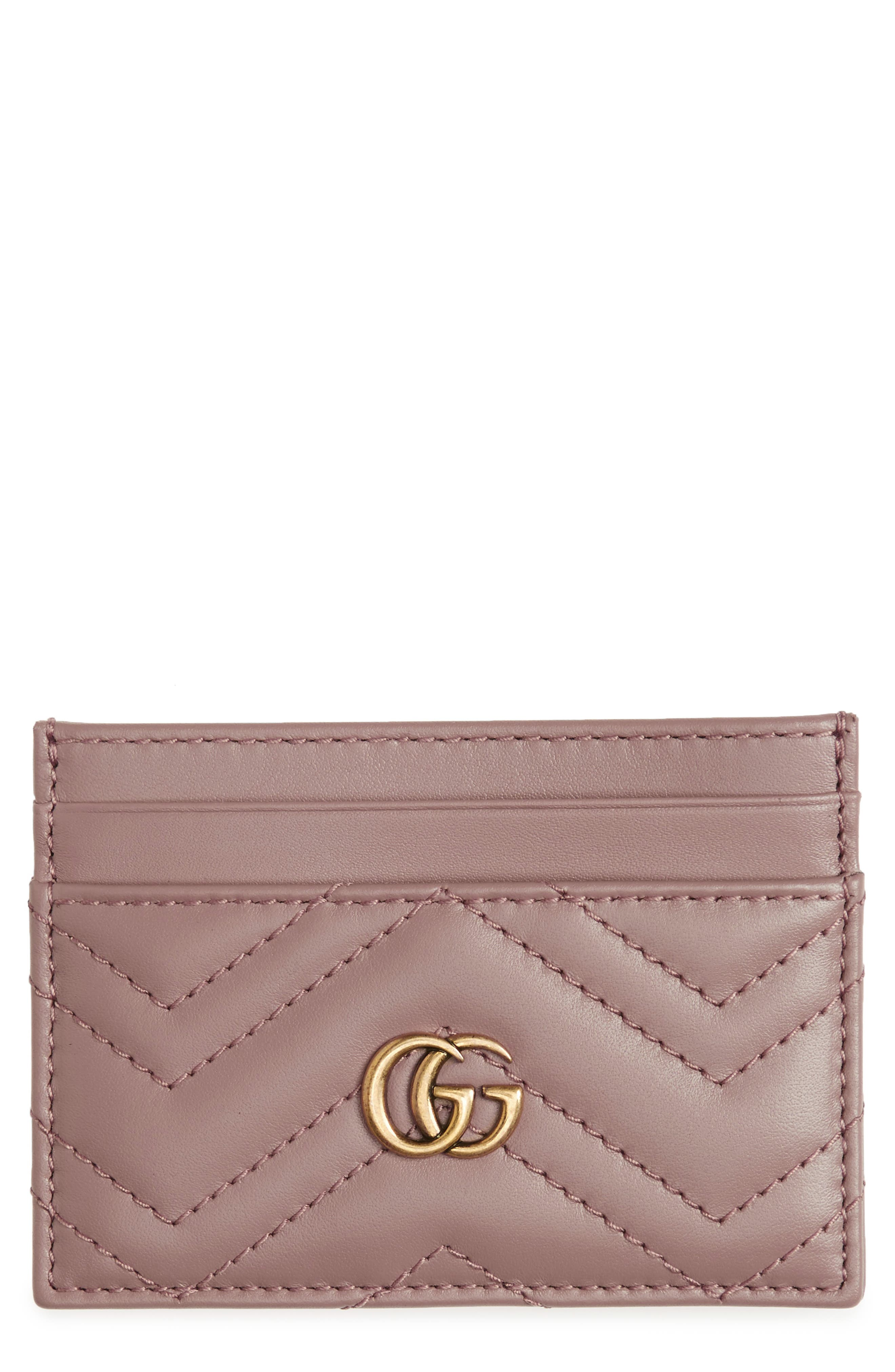 GG Marmont Matelassé Leather Card Case,                             Main thumbnail 1, color,                             Porcelain Rose