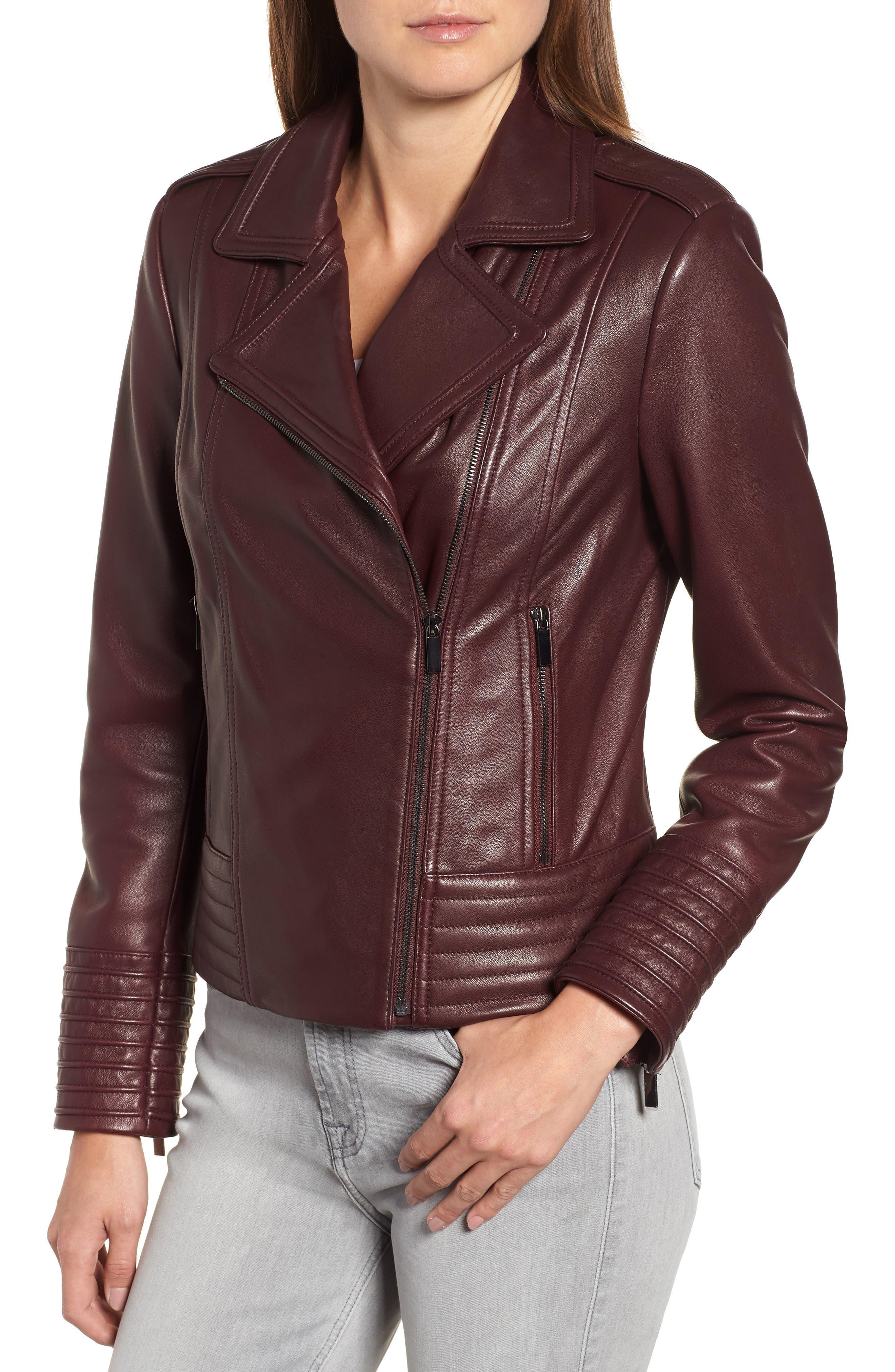 Gia Leather Biker Jacket,                             Alternate thumbnail 4, color,                             Burgundy