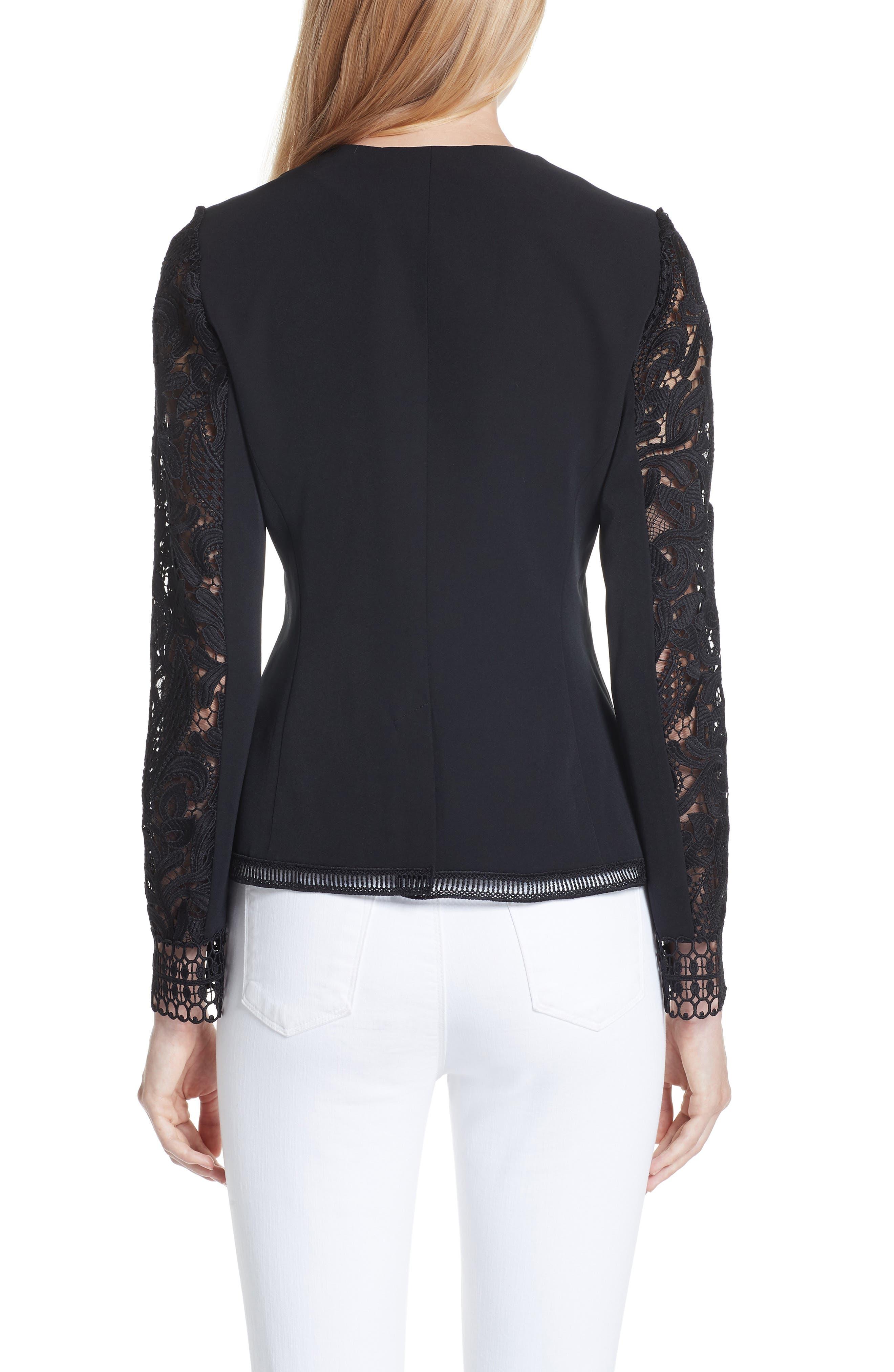 Liela Sheer Lace Panel Jacket,                             Alternate thumbnail 2, color,                             Black