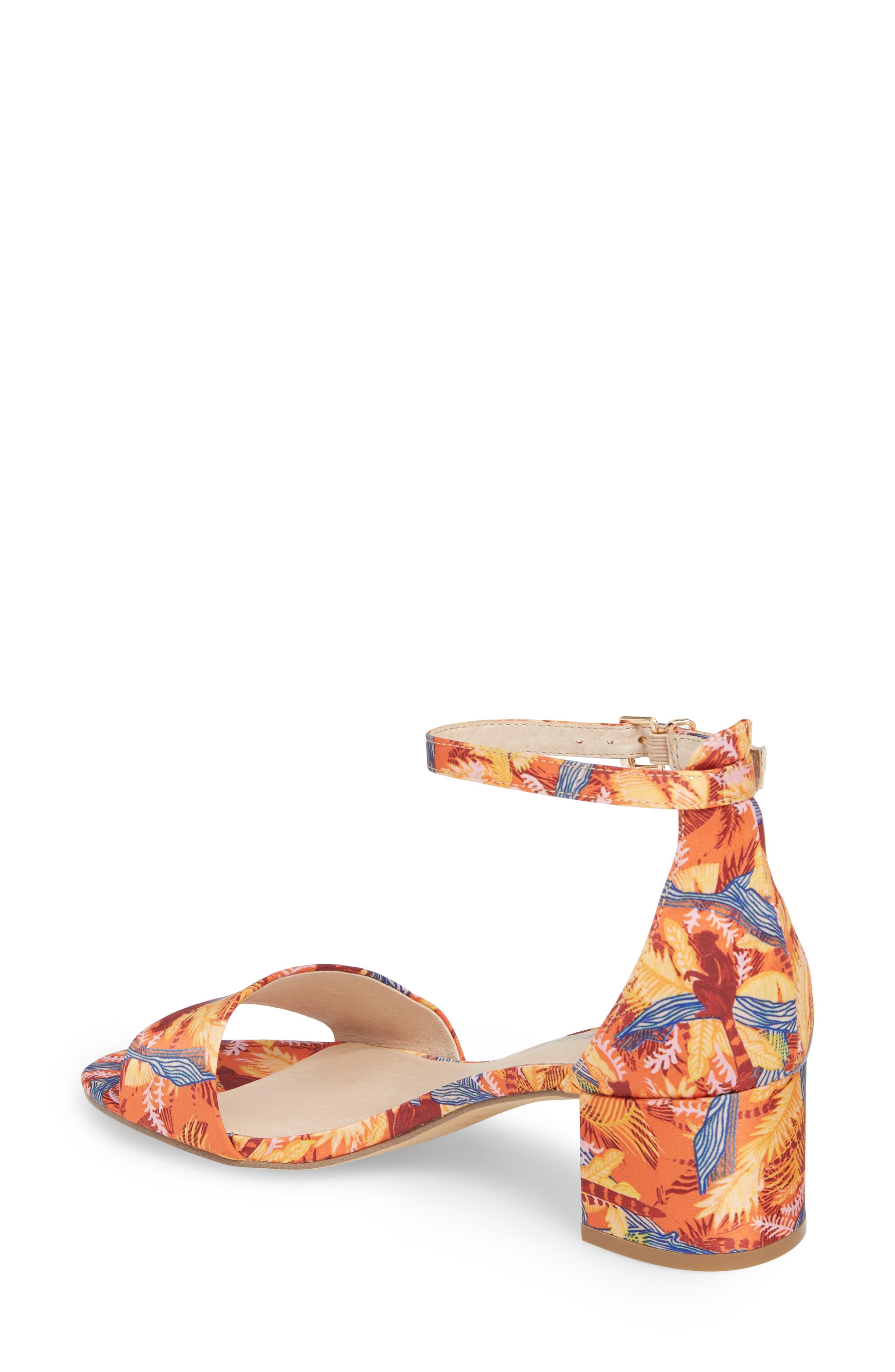 Marigold Block Heel Sandal,                             Alternate thumbnail 2, color,                             Orange Combo