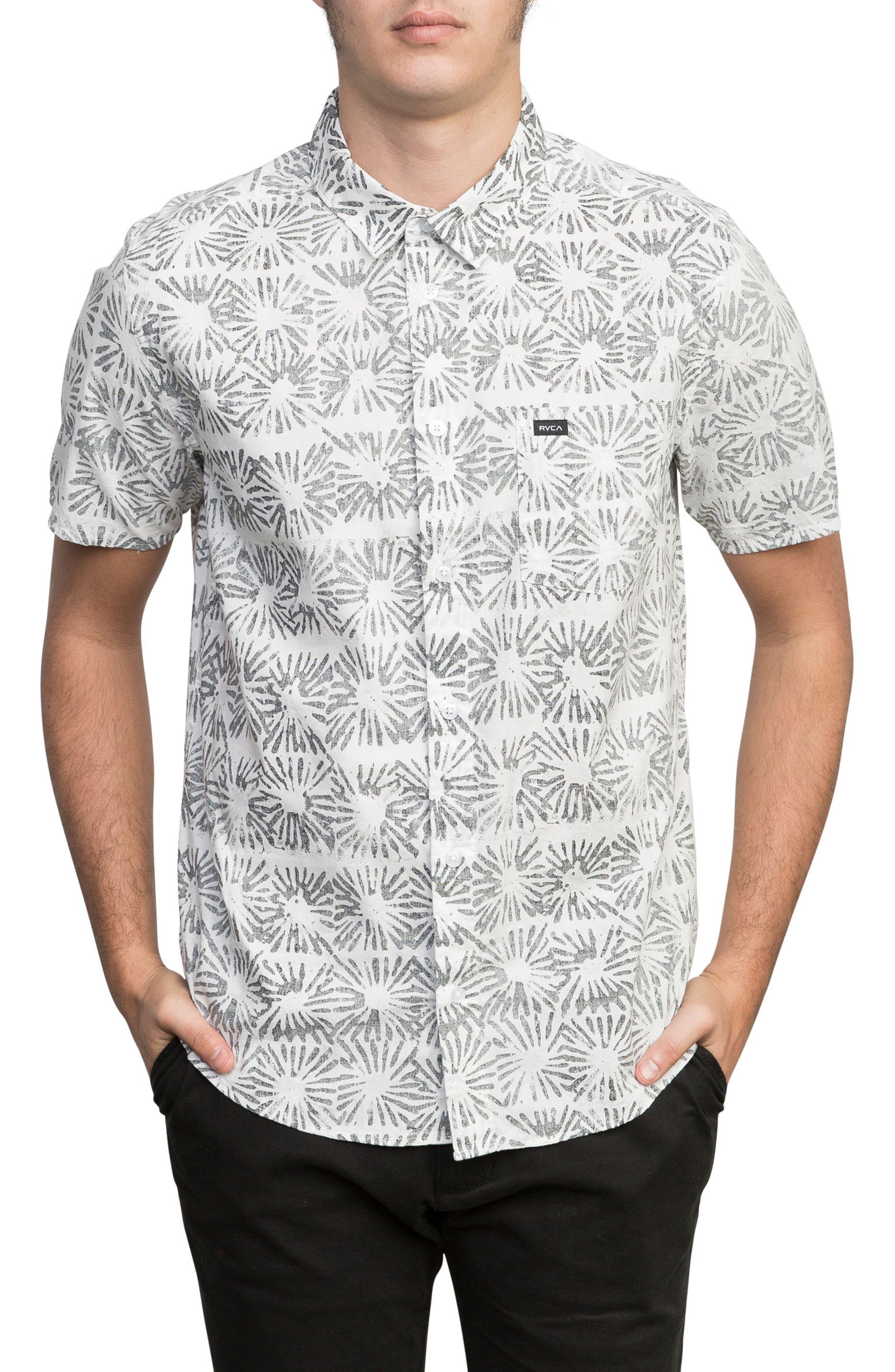 Flower Block Woven Shirt,                             Main thumbnail 1, color,                             White