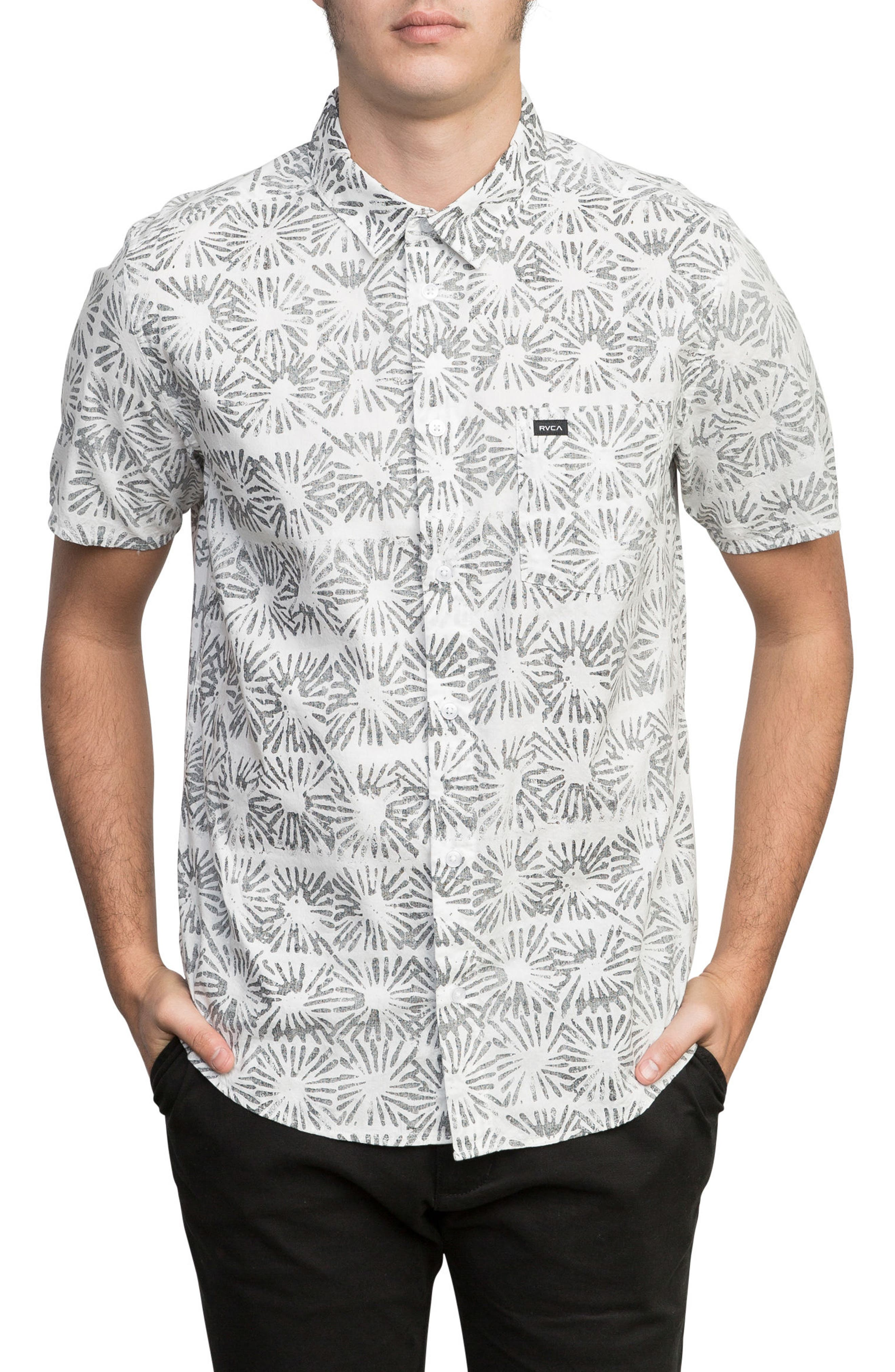 Flower Block Woven Shirt,                         Main,                         color, White